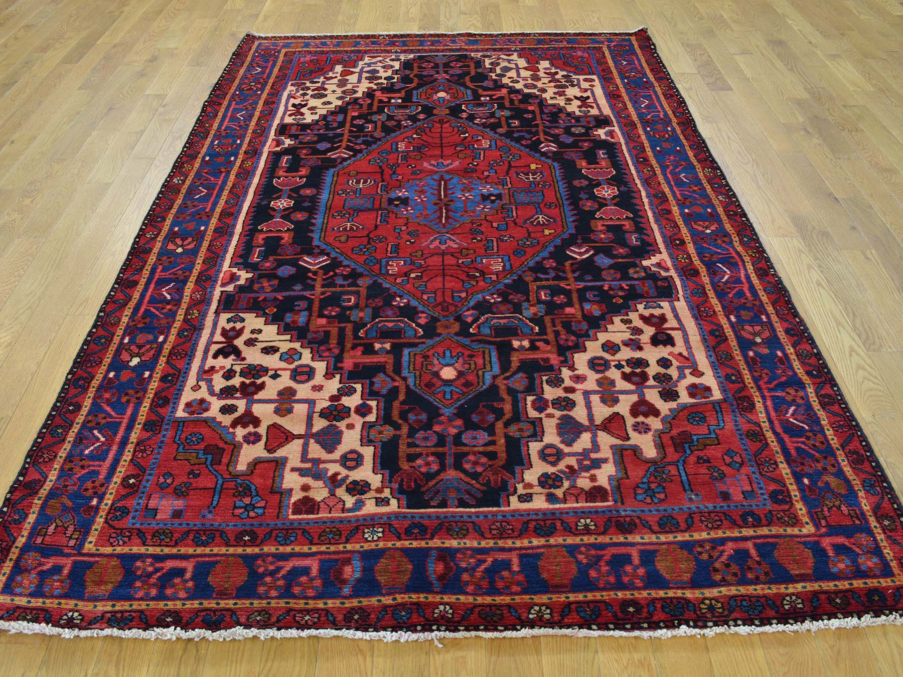 5-1 x8- Persian Nahavand Pure Wool Hand Knotted Full Pile Oriental Rug
