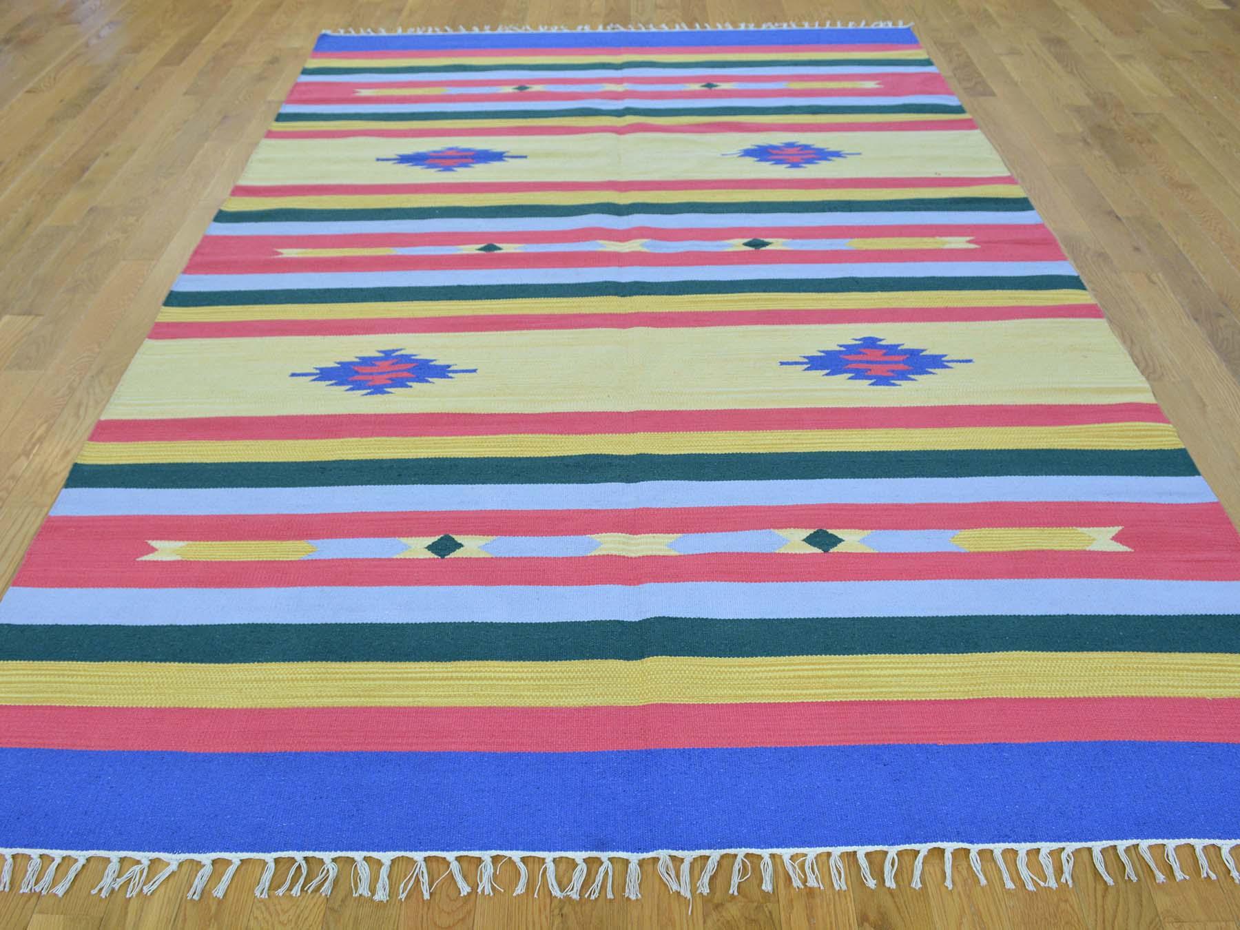 6-x9- Hand Woven Flat Weave Killim Navajo Design Oriental Rug