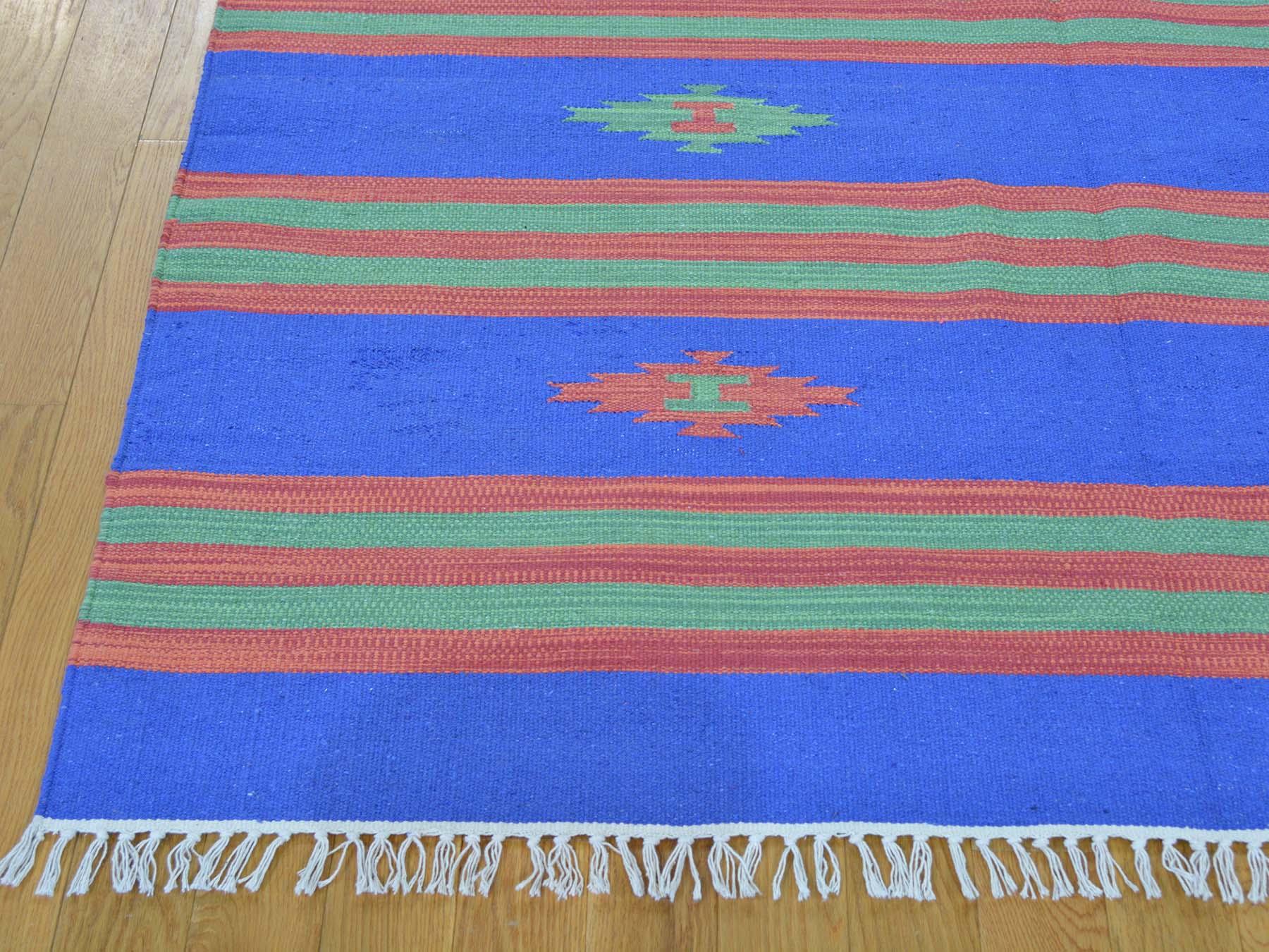 5-1 x7-2  Flat Weave Hand Woven Navajo Design Striped Killim Rug