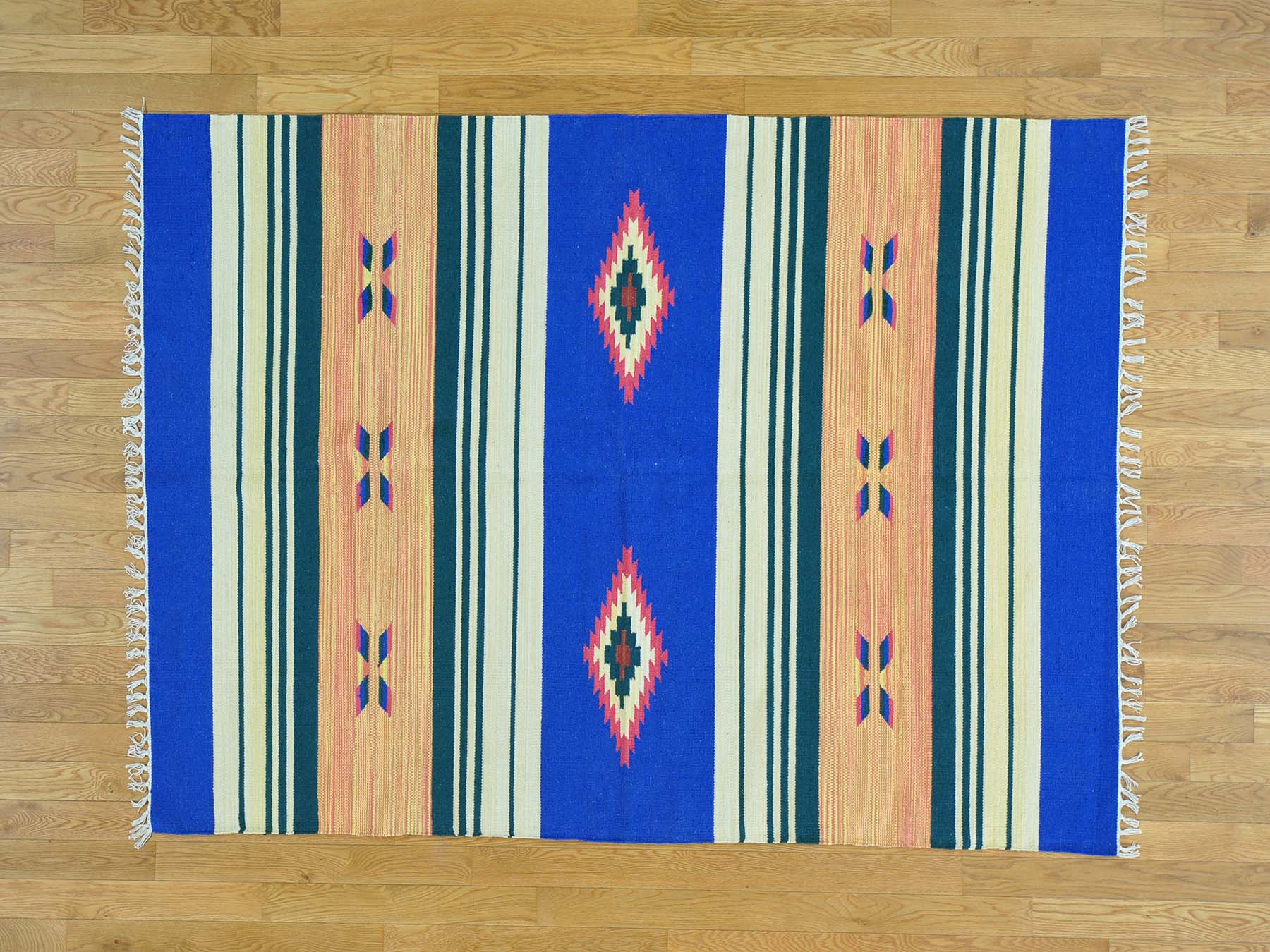 5-1 x7- Striped Kilim Flat Weave Hand Woven Southwest Design Rug