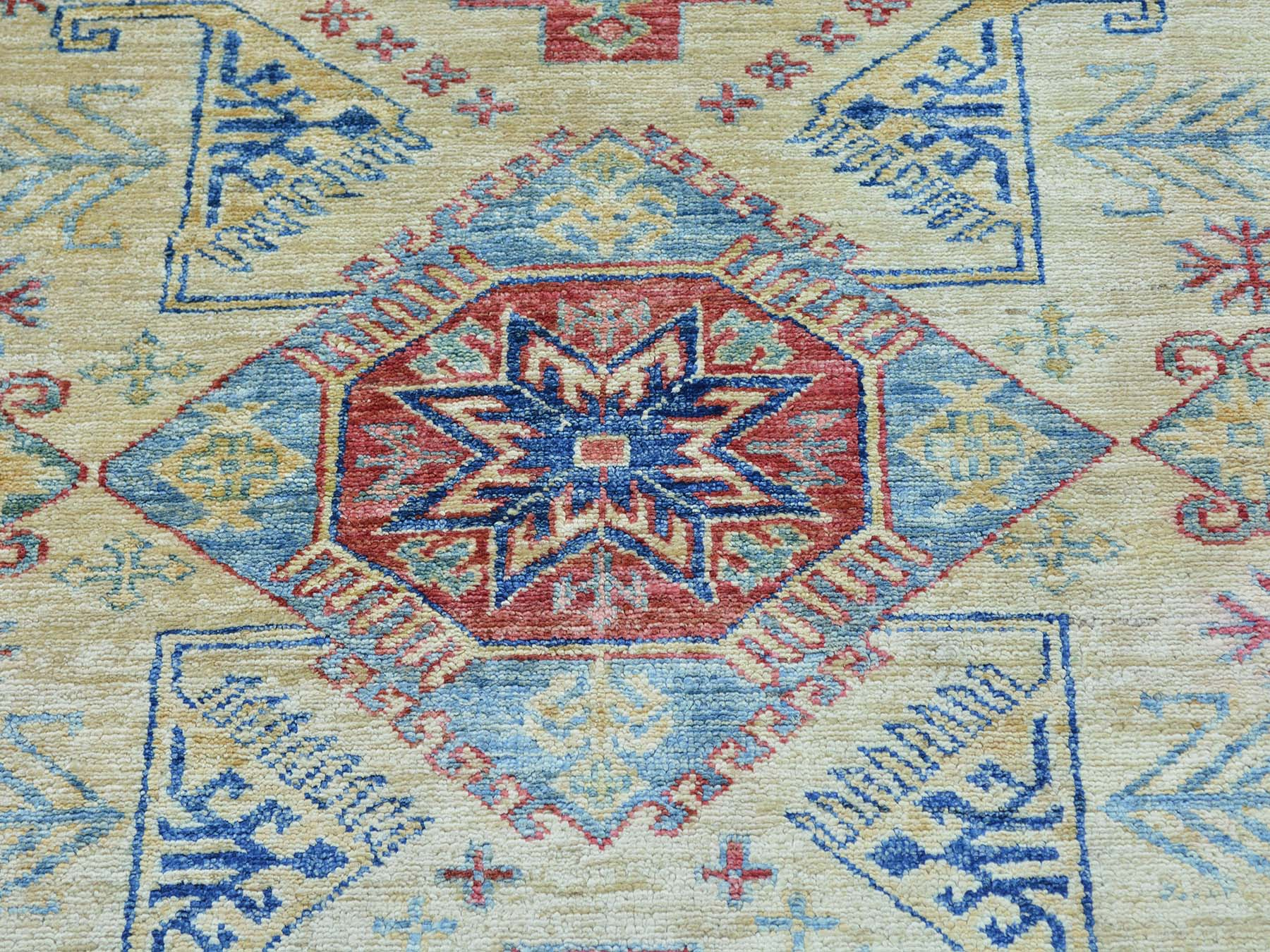 4-x6-2  Super Kazak Tribal Design Hand Knotted Pure Wool Oriental Rug