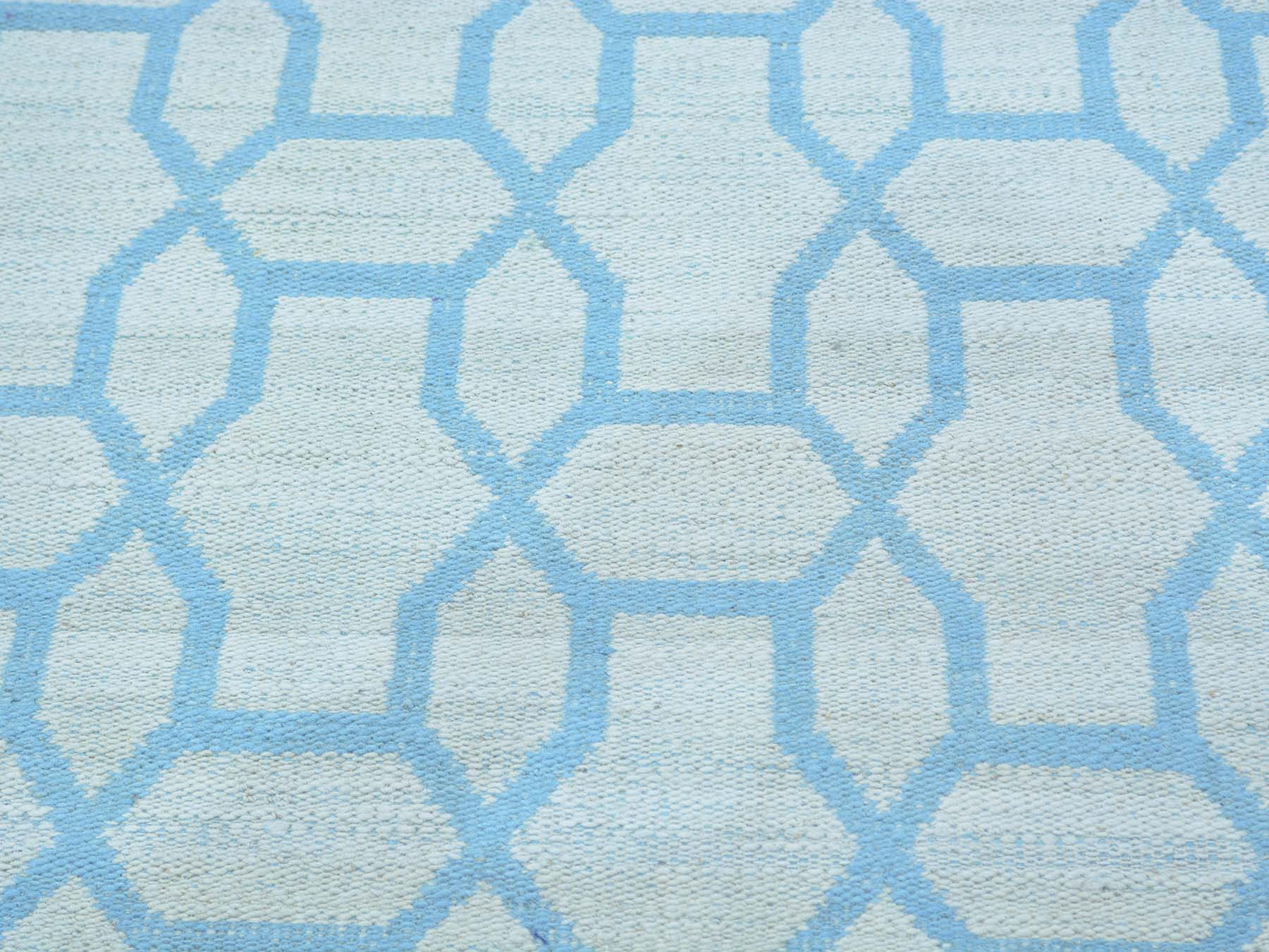 5-4 x7-3  Sky Blue Hand Woven Reversible Oriental Flat Weave Kilim Rug