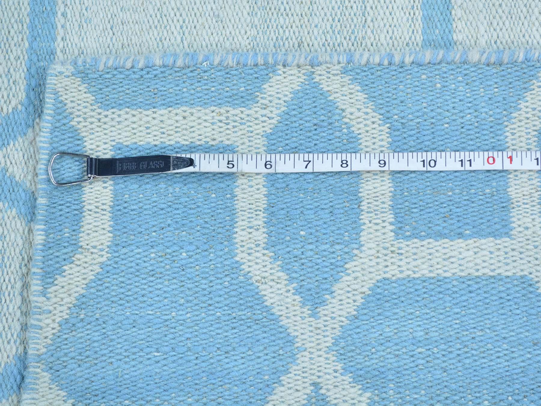 5-4 x7-9  Sky Blue Reversible Flat Weave Kilim Hand Woven Oriental Rug