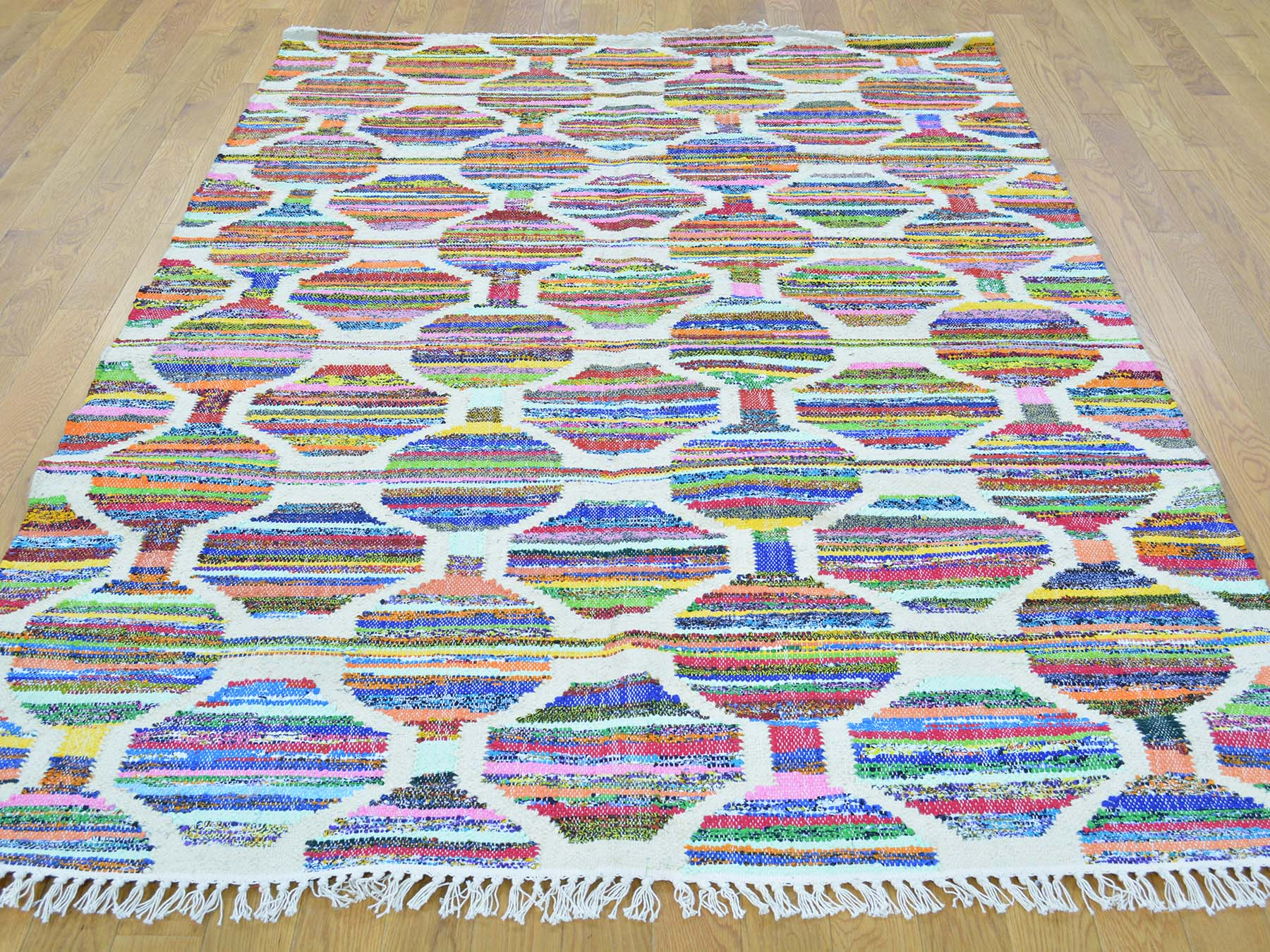 5-x7- Geometric Flat Weave Kilim Cotton And Sari Silk Hand Woven Rug