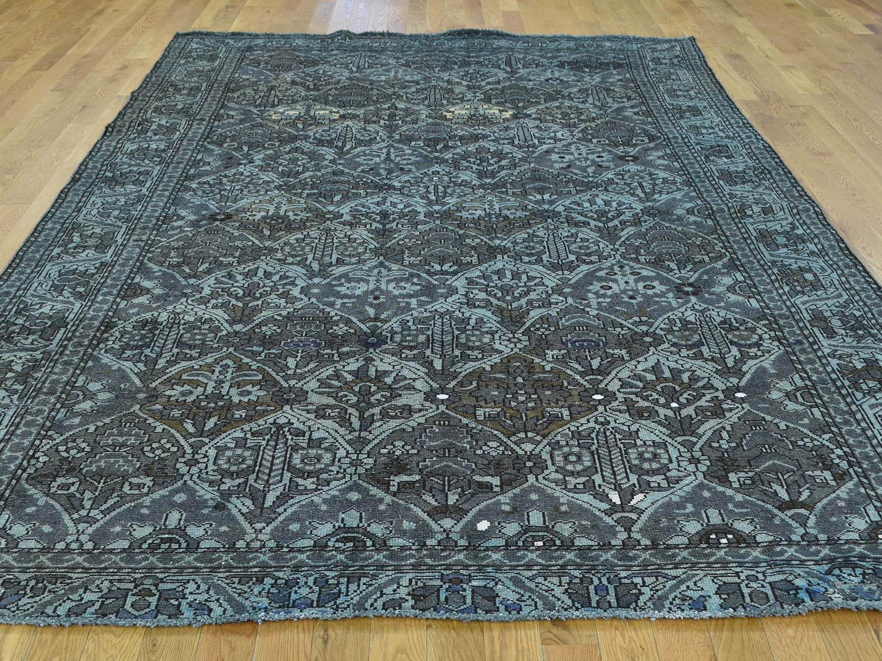 7-x9-9  Pure Wool Hand-Knotted Persian Bakhtiari Grey Overdyed Worn Rug