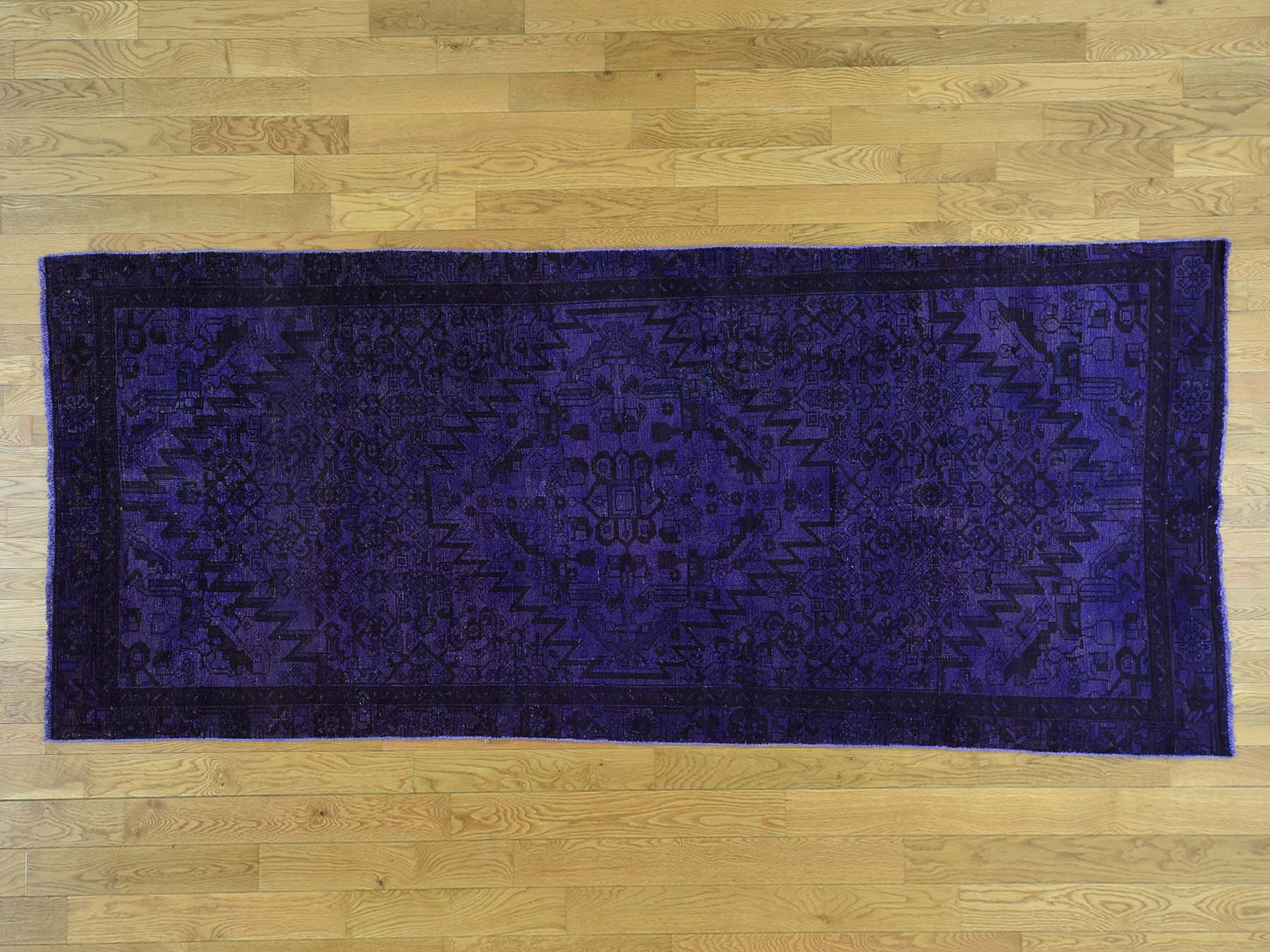 4-x10-6  Hand-Knotted Purple Overdyed Hamadan Pure Wool Wide Runner Rug