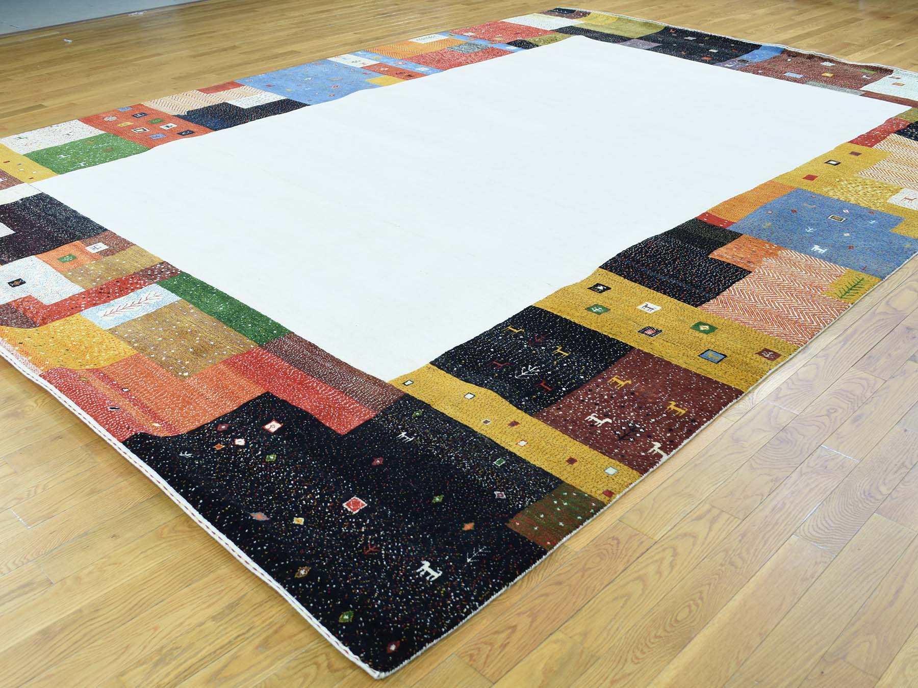 9-8 x13-5  100 Percent Wool Hand-Knotted Folk Art Gabbeh Oriental Rug