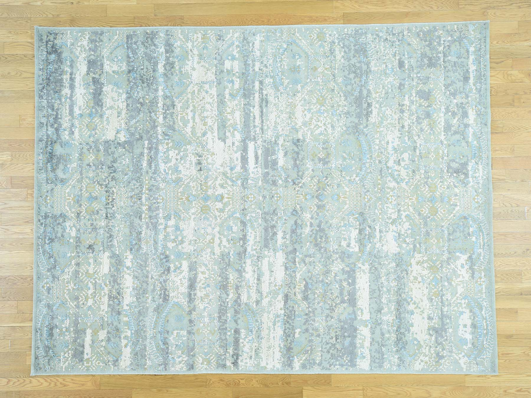 7-8 x10-1  Oxidized Wool With Silk High And Low Pile Modern Rug