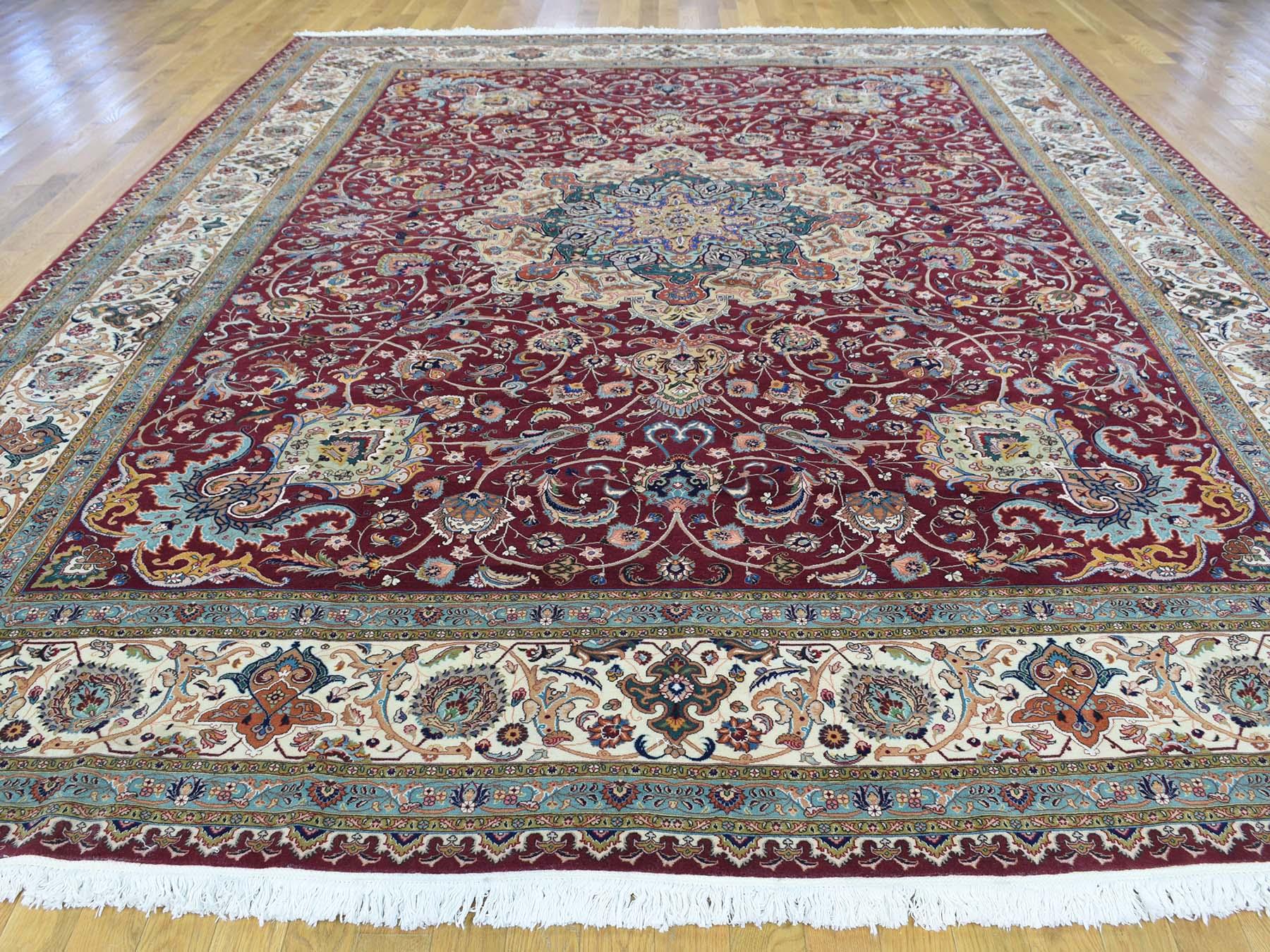 9-9 x12-8  Persian Tabriz 400 Kpsi Wool and Silk Handmade Oriental Rug
