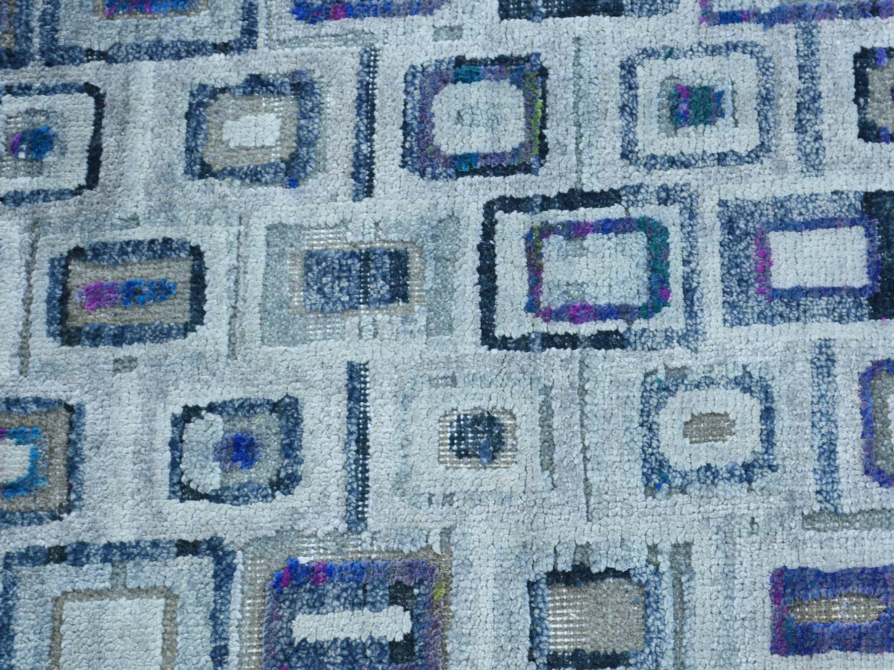 2-x2- Hand-Knotted Silk With Oxidized Wool Square Oriental Rug
