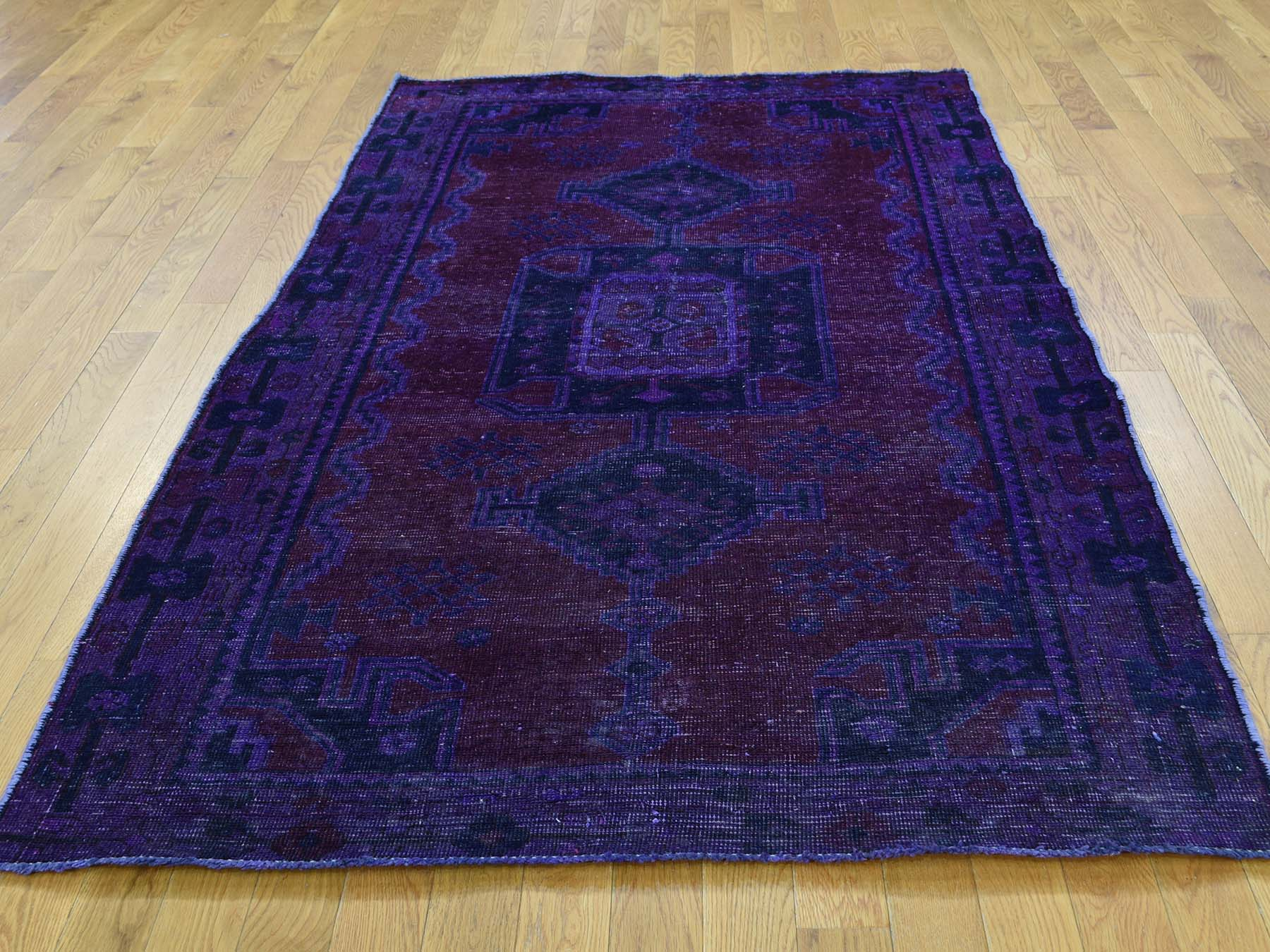 4-1 x7-7  Hand-Knotted Overdyed Persian Hamadan Pure Wool Wide Runner Rug