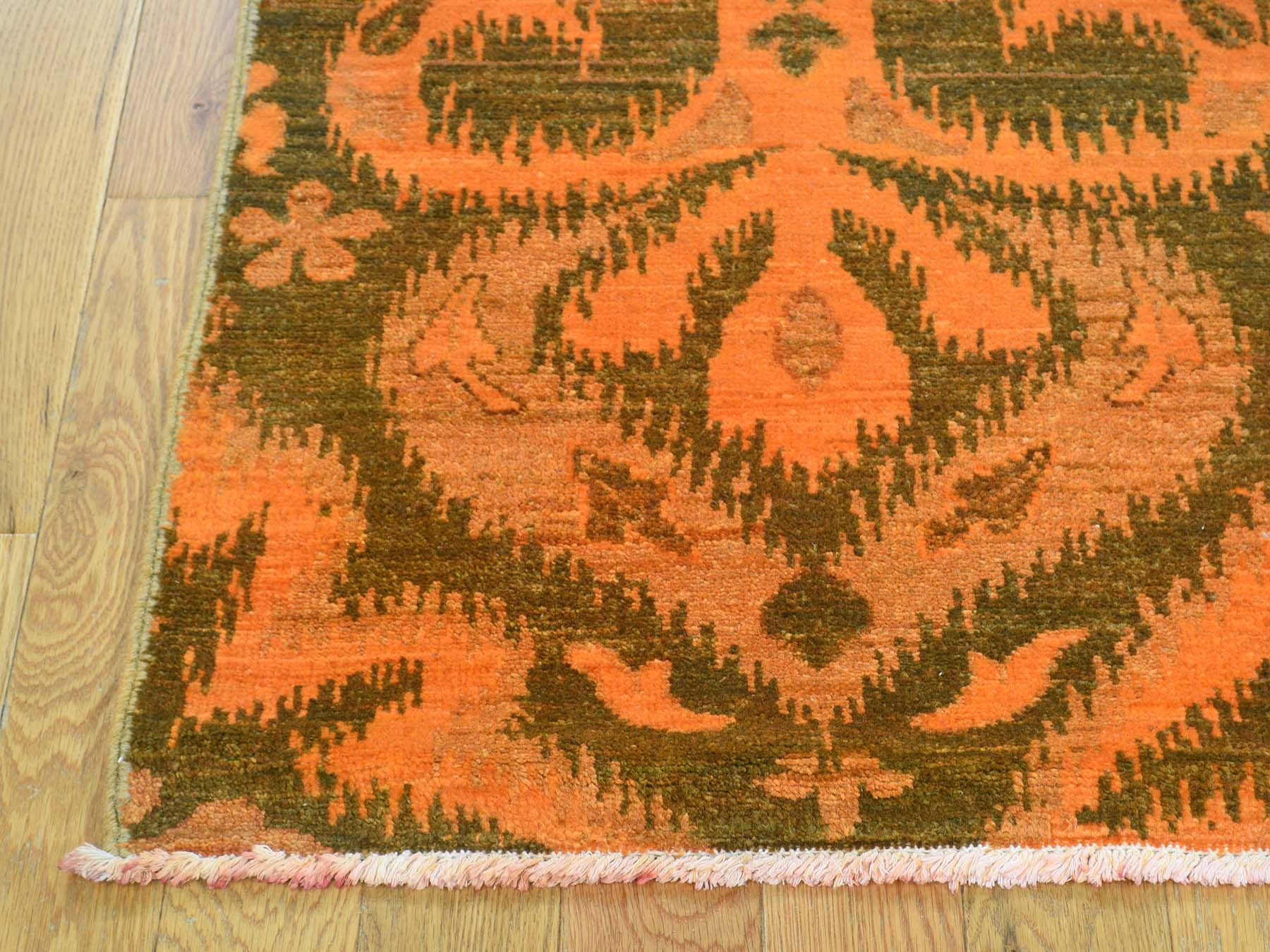 4-1 x6-1  Hand Knotted Orange Cast Ikat Overdyed Pure Wool Oriental Rug