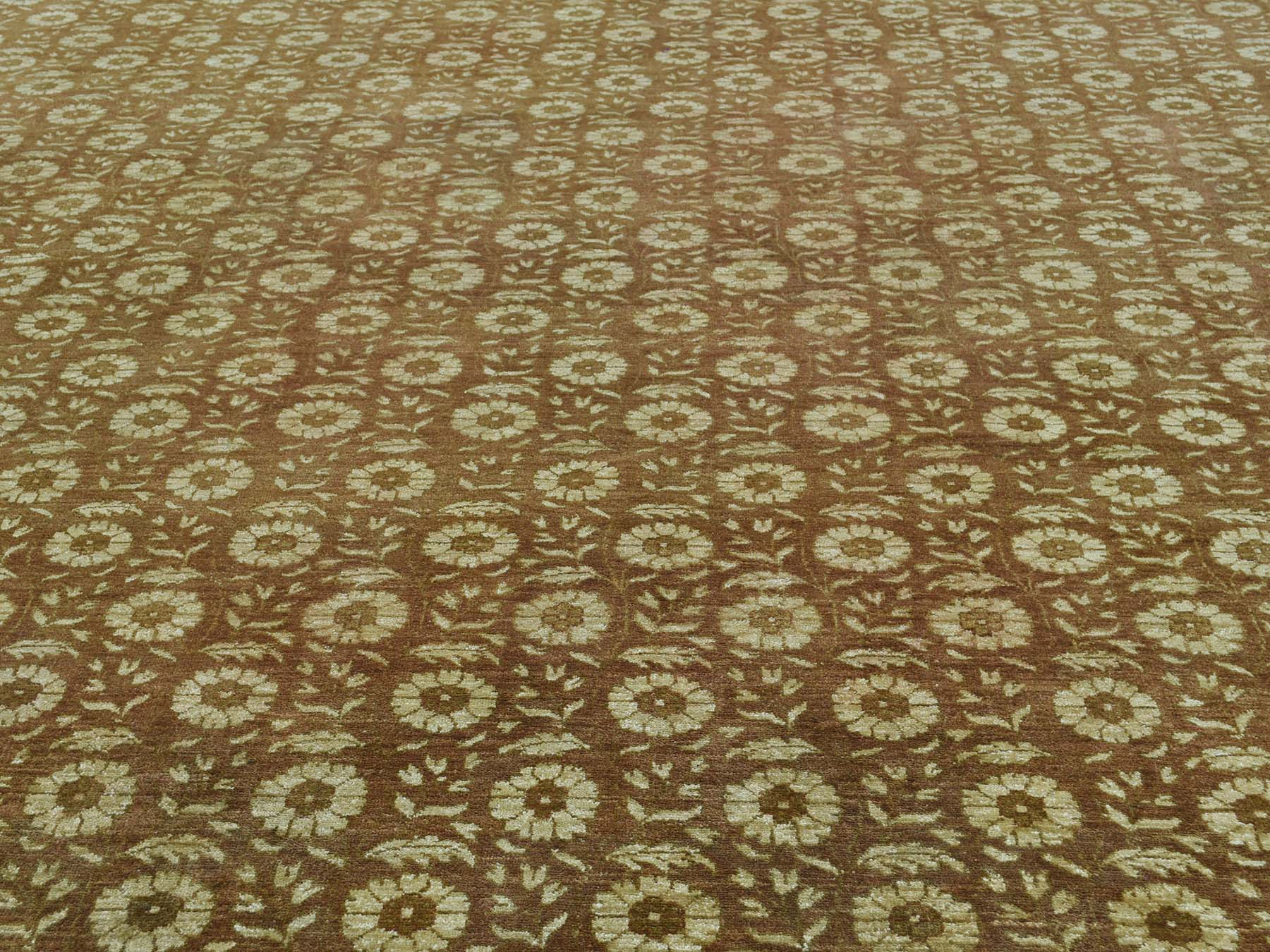 10-x13-10  Hand Knotted Agra With Rosette Design Pure Wool Oriental Rug