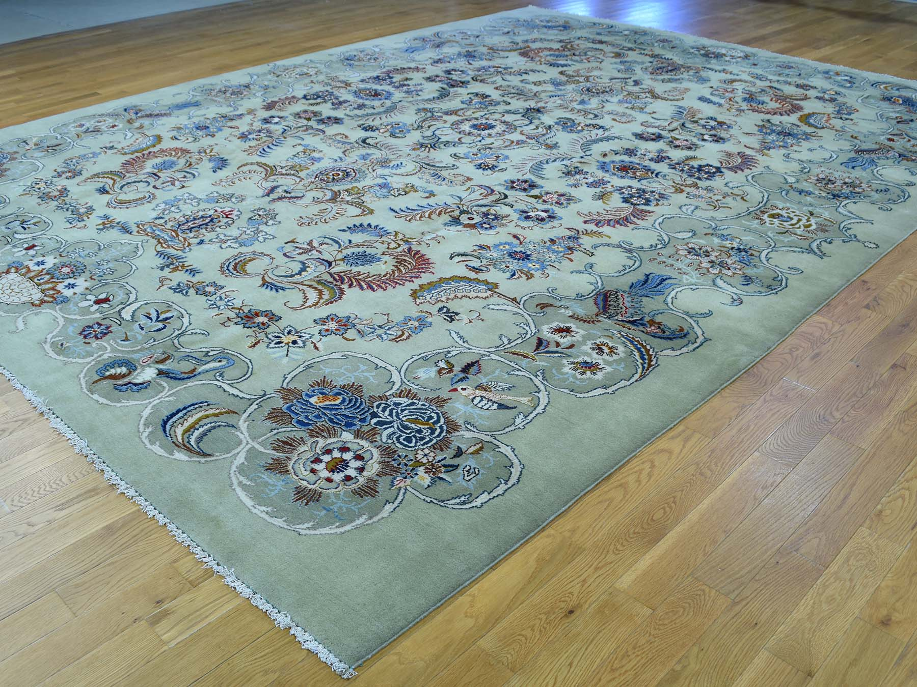10-7 x13-9  Hand-Knotted Persian Kashan 100 Percent Wool Oriental Rug