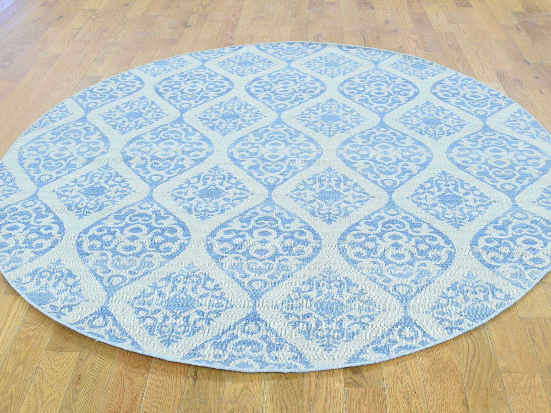 6-x6- Reversible Flat Weave Round Hand Woven Durie Kilim Rug