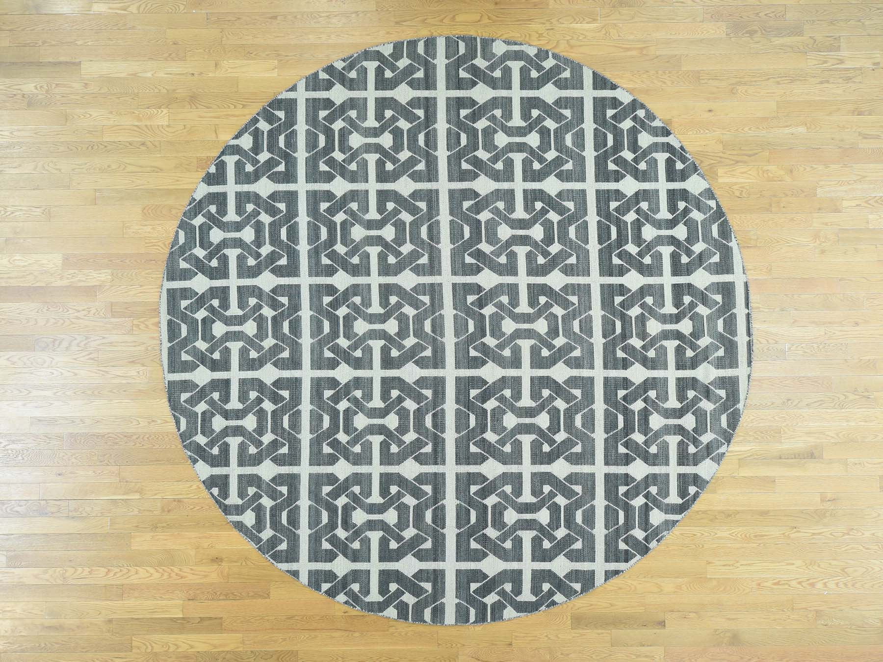 9-10 x9-10  Hand Woven Flat Weave Durie Kilim Reversible Round Rug
