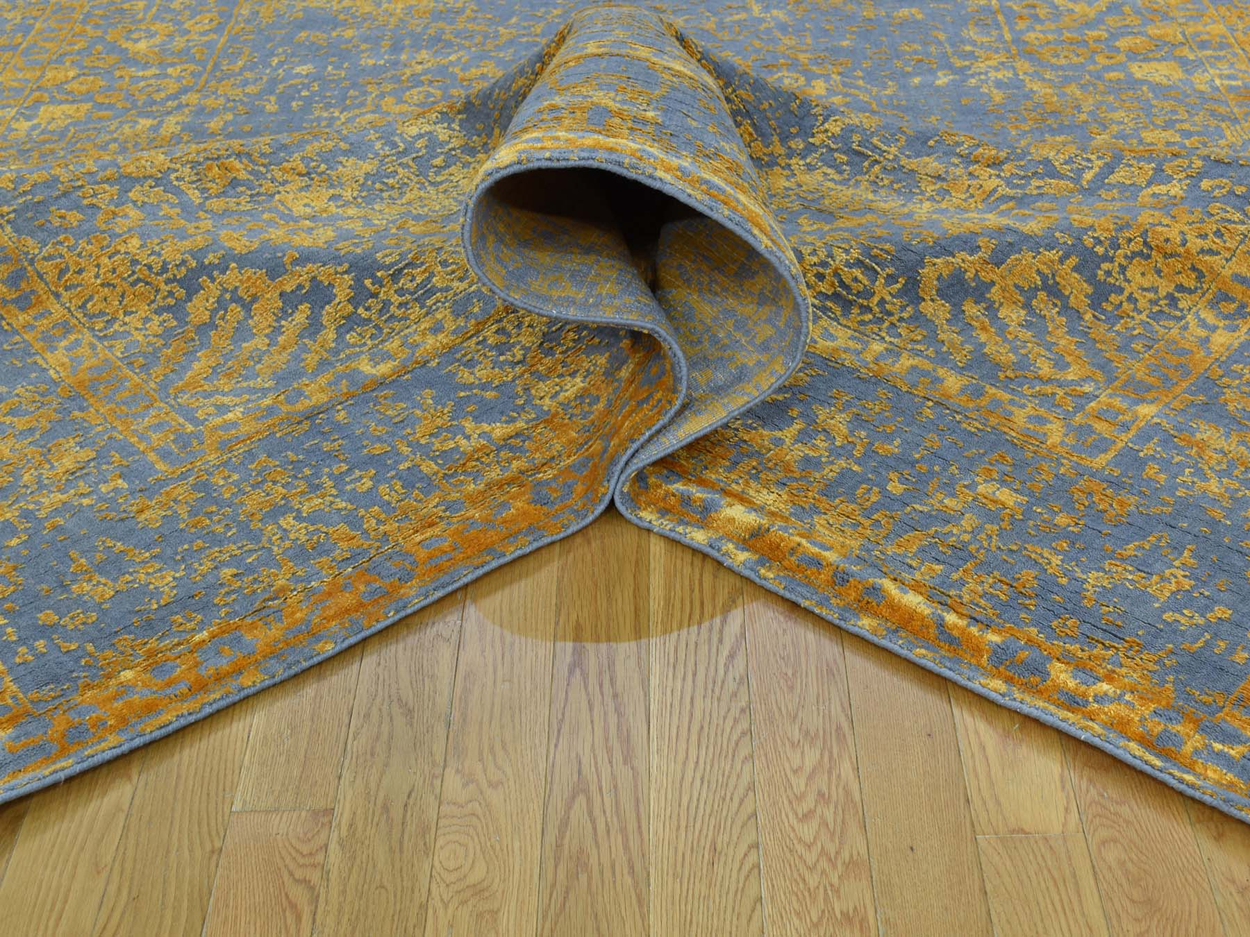 7-9 x10-2  Hand-Loomed Orange Broken Design Wool and Silk Rug