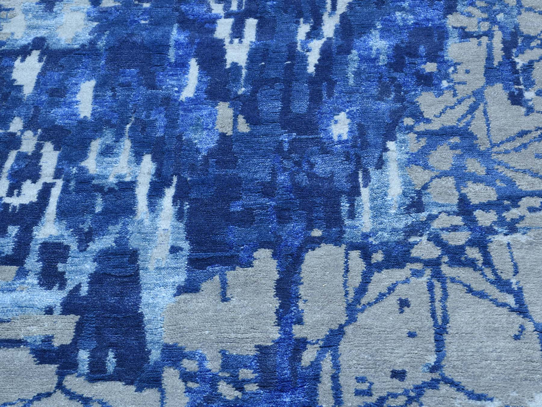 6-1 x8-10  Hand-Knotted Wool And Silk Abstract Design Oriental Rug