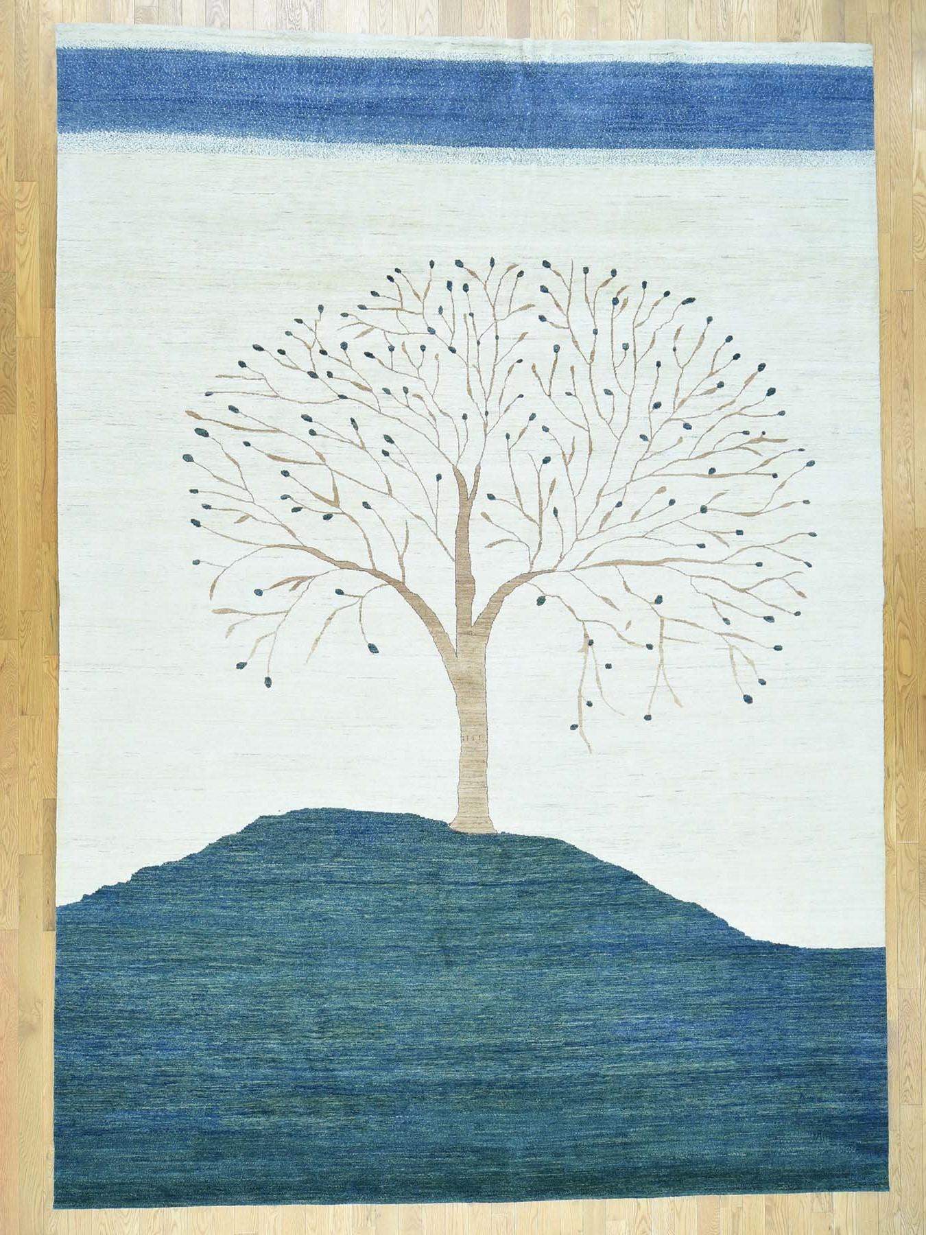 9-8 x13-8  Hand-Knotted Modern Folk Art Gabbeh Persian Wool Oriental Rug