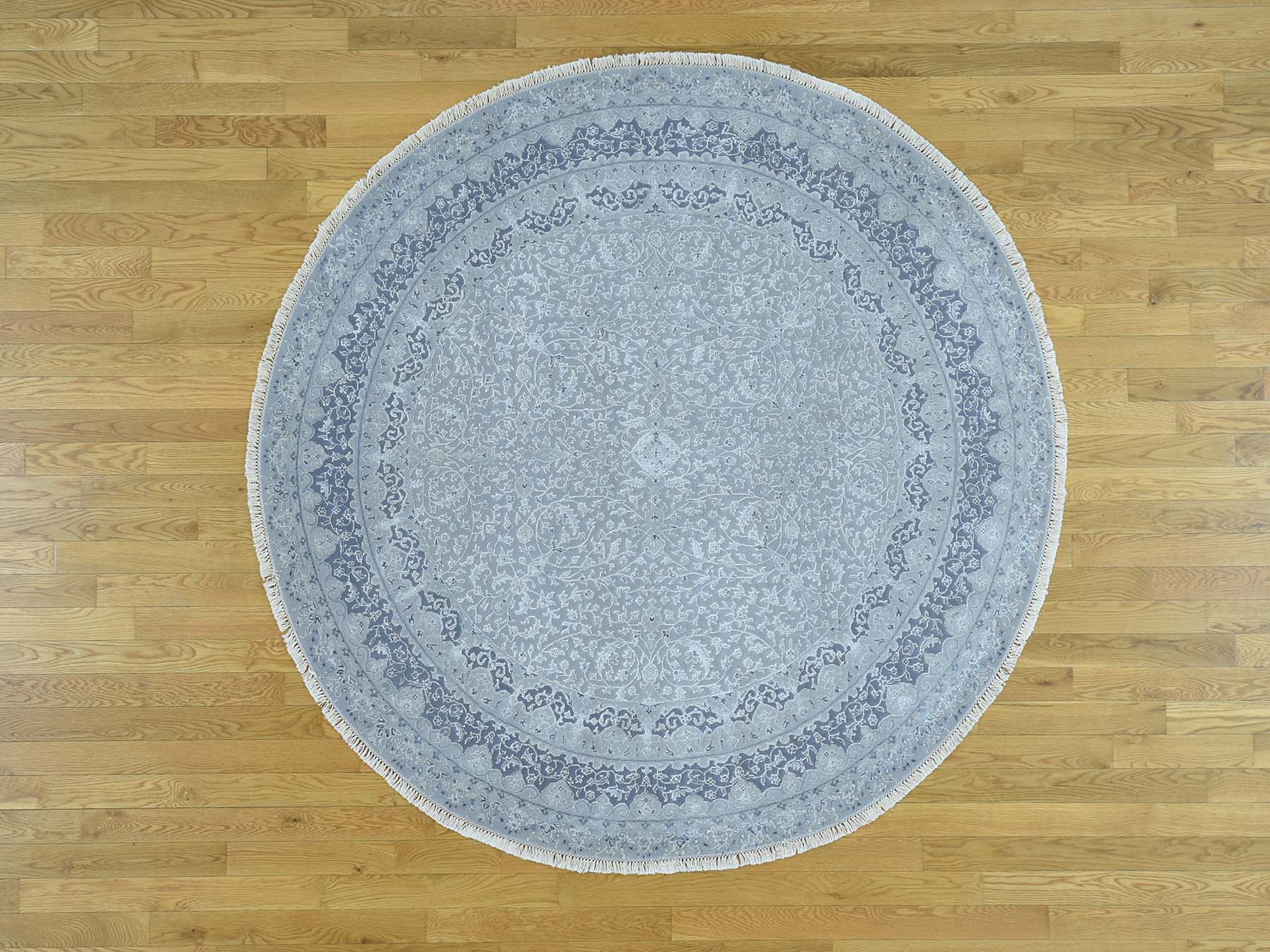 6-7 x6-7  Wool and Silk Hand-Knotted Kashan Design Round 300 Kpsi Rug