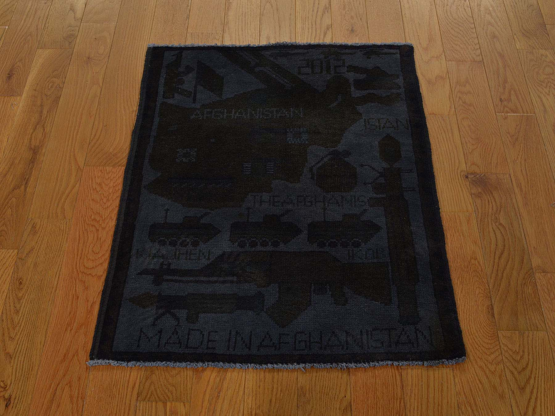 2-x2-7  Guns and Tanks Design Overdyed Hand-Knotted Afghan War Rug