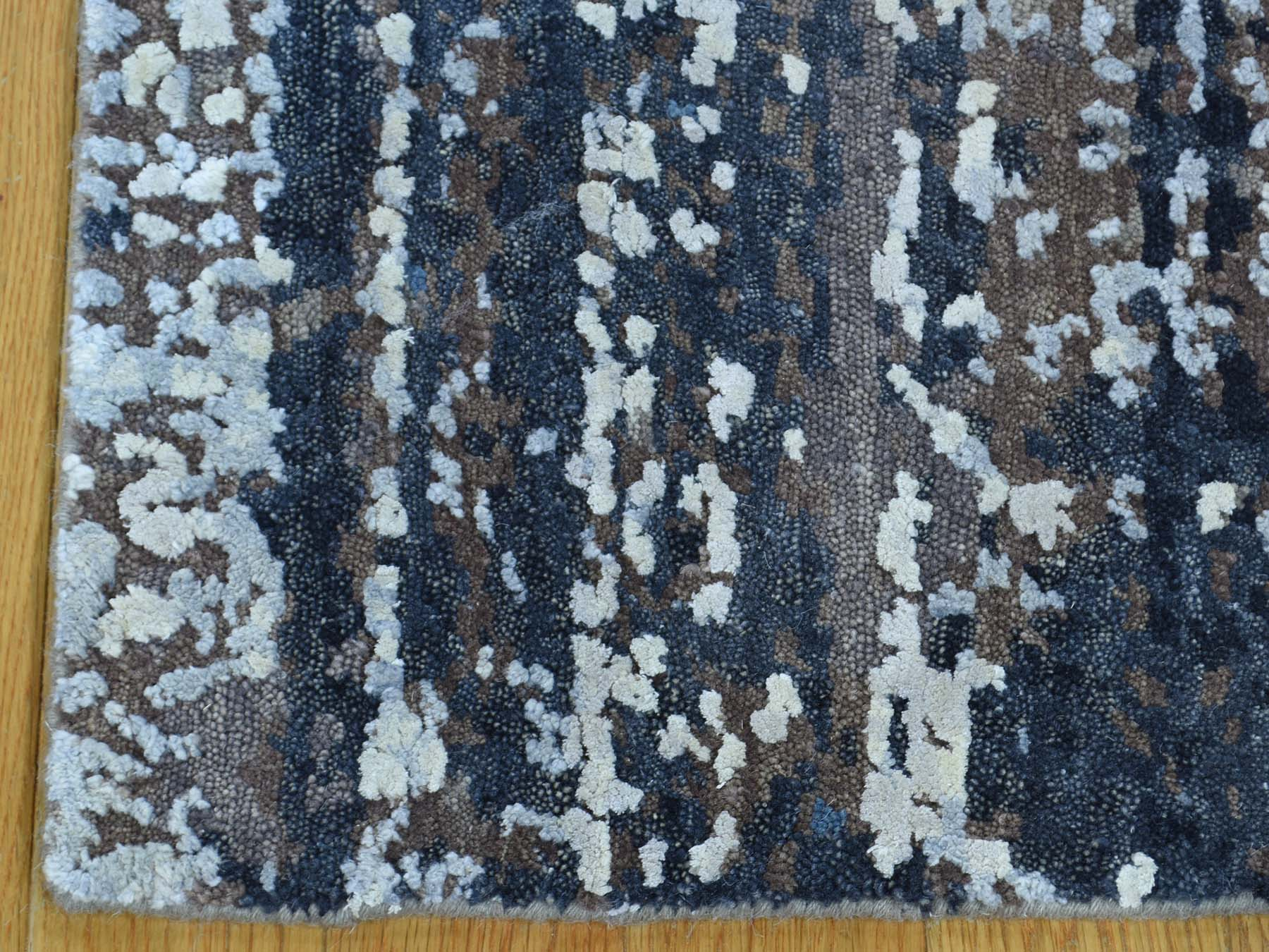 1-10 x2- Hand-Knotted Wool and Silk Abstract Square Hi and Low Pile Rug