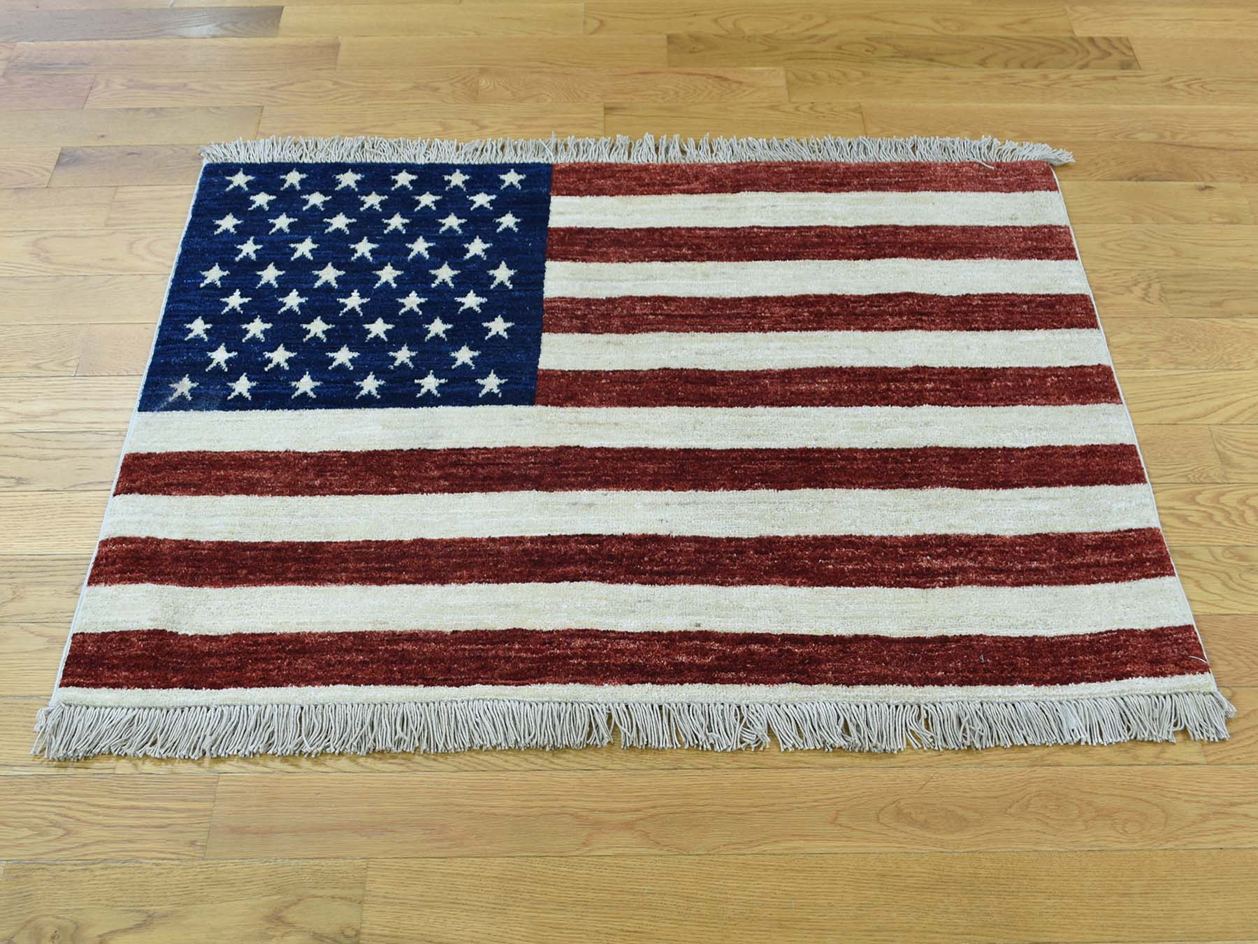 2-7 x3-10  Hand-Knotted Pure Wool Peshawar Quality American Flag Rug