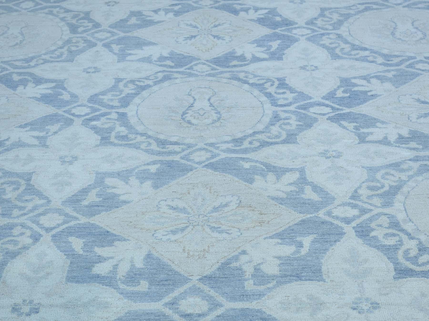 9-1 x12- Chobi White Wash Hand-Knotted Pure Wool Oriental Rug