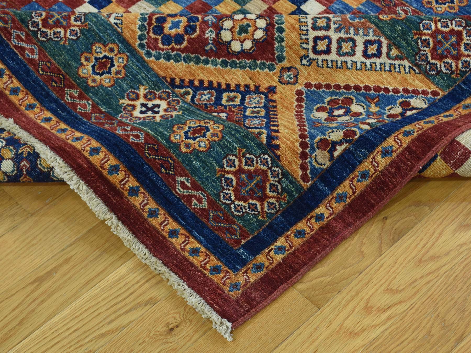 5-7 x8- Super Kazak Khorjin Hand-Knotted Pure Wool Oriental Rug