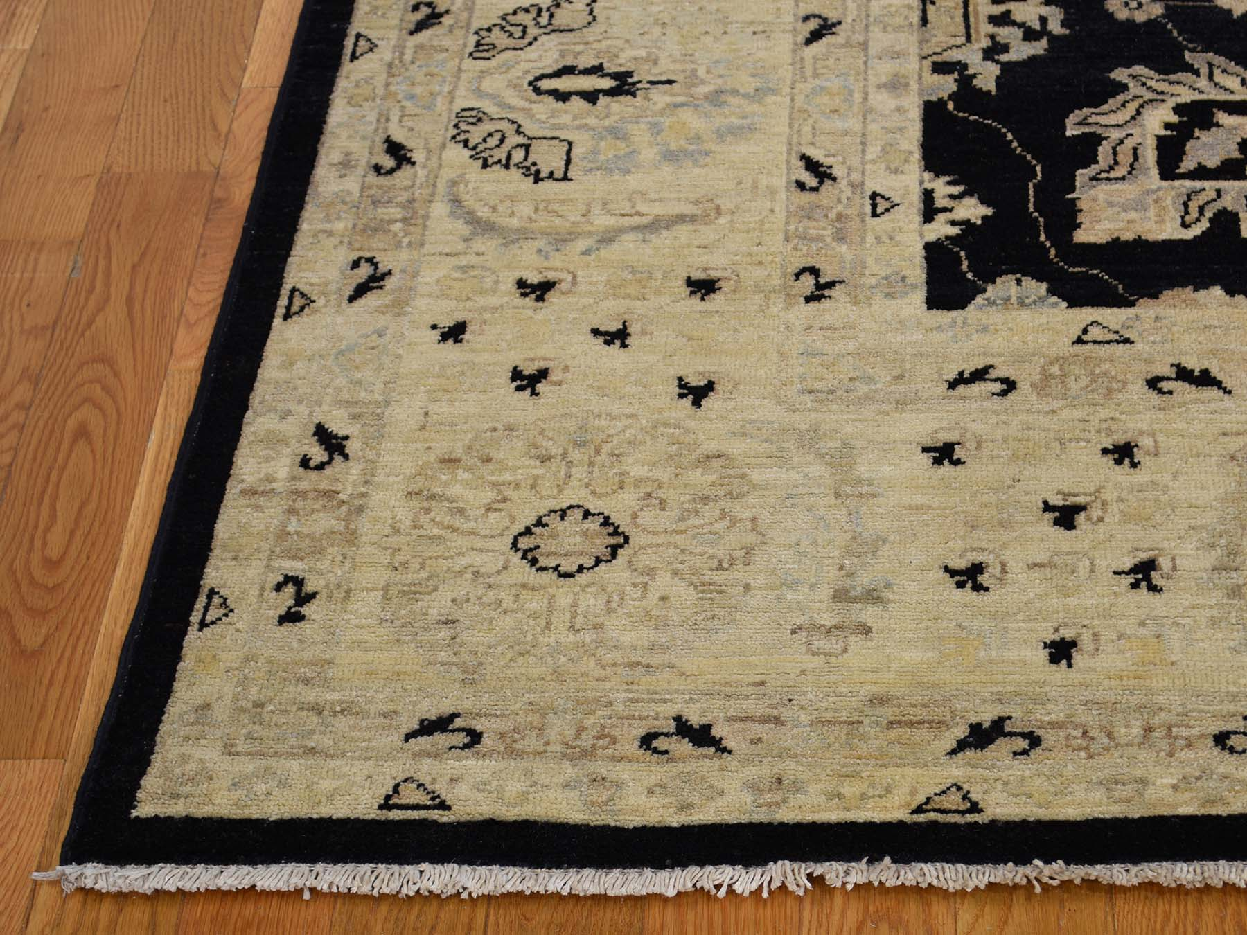 8-10 x12- Black Hand-Knotted Pure Wool Peshawar Oriental Rug