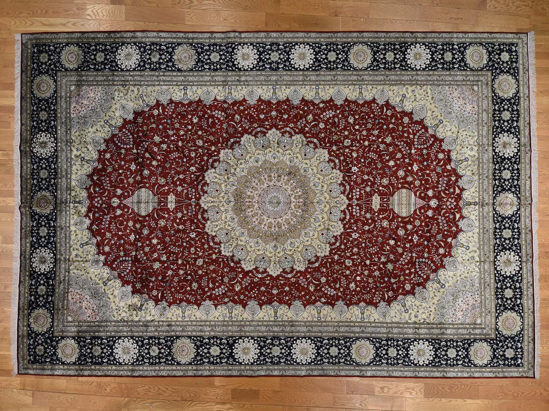 12-x18- Silken Kashan 250 kpsi Oversize Hand-Knotted Oriental Rug
