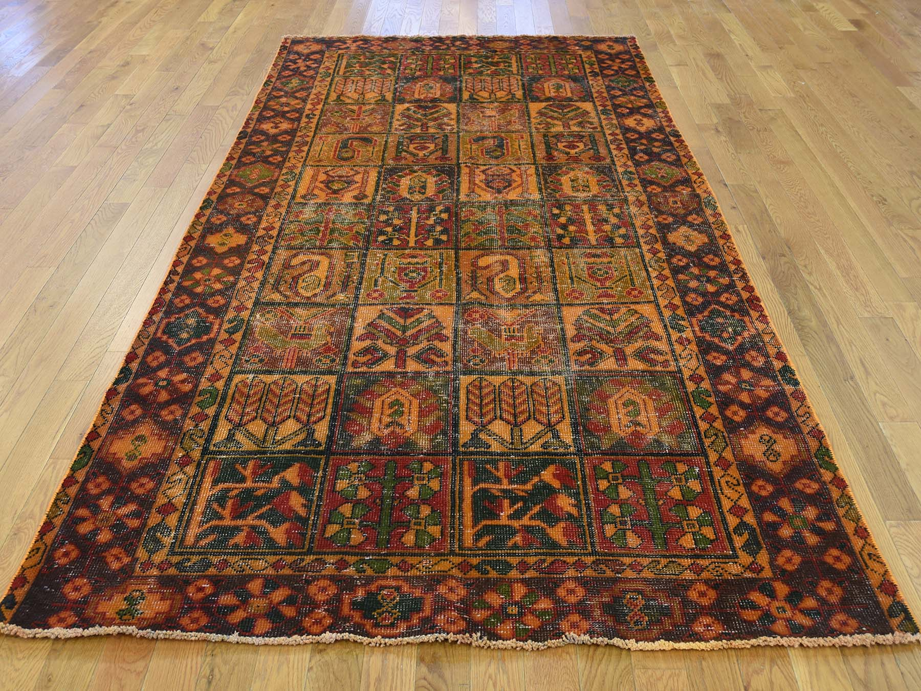 4 10 X9 6 Hand Knotted Vintage Overdyed Persian Bakhtiari Wide Runner Rug Cwr38677