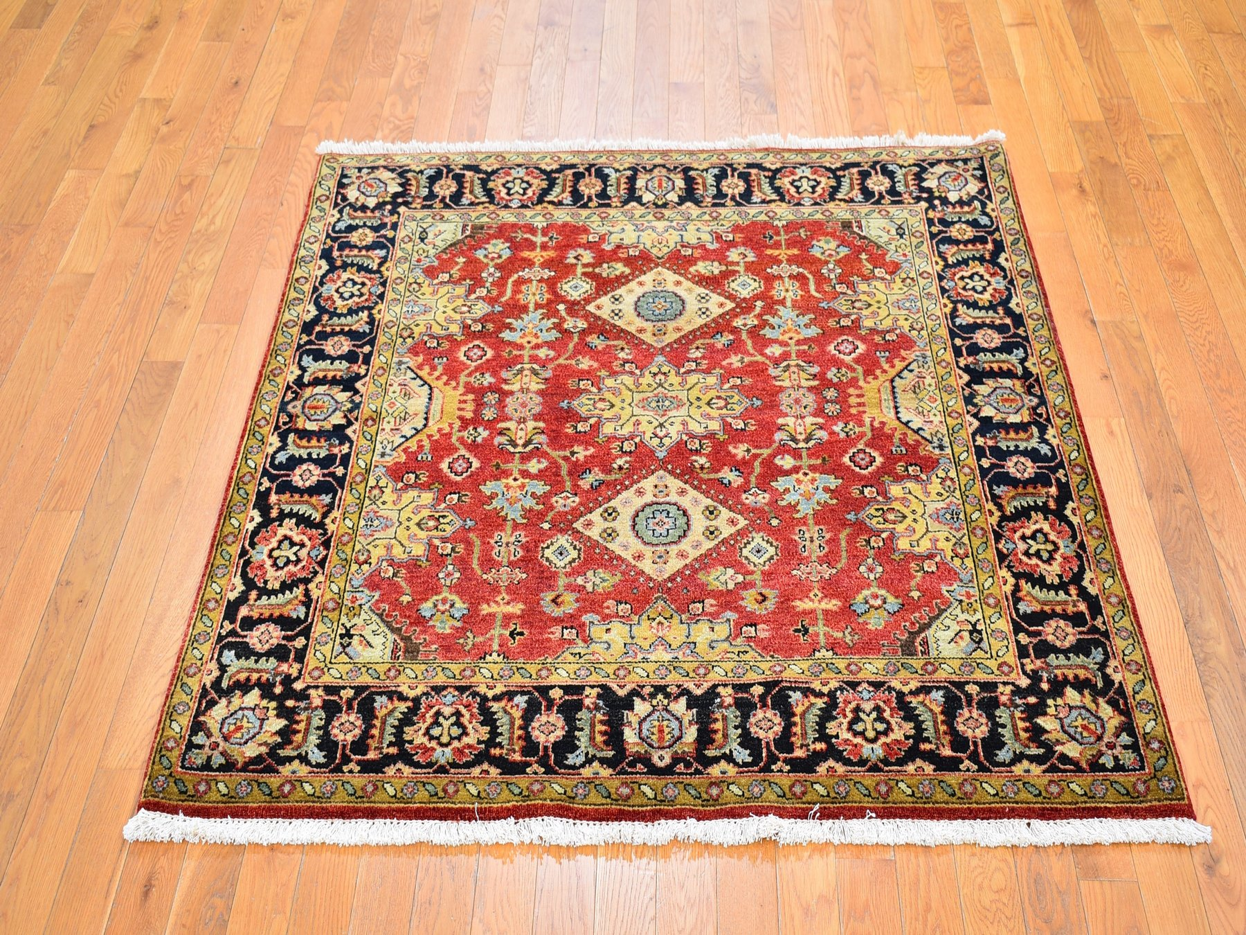5 X5 Red Karajeh Design Pure Wool Square Hand Knotted Oriental Rug Sh59825