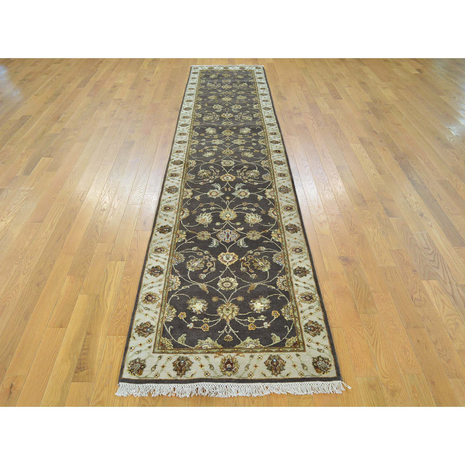 2.5- x 12- XL Runner Wool and Silk Kashan Chocolate Brown Oriental Rug Handmade