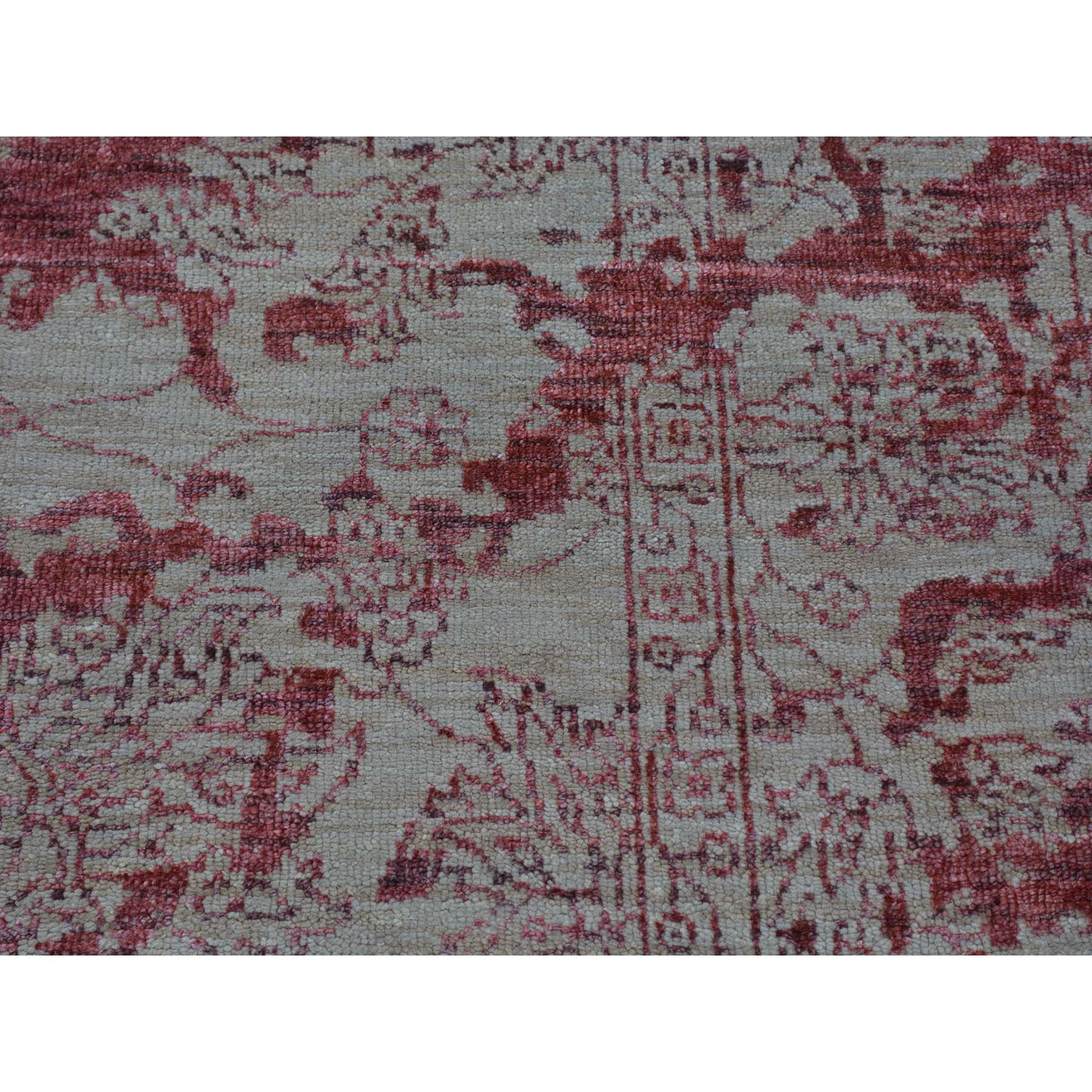 2- x 3- Hand Knotted Wool and Silk Broken Design Heriz Sample Oriental Rug