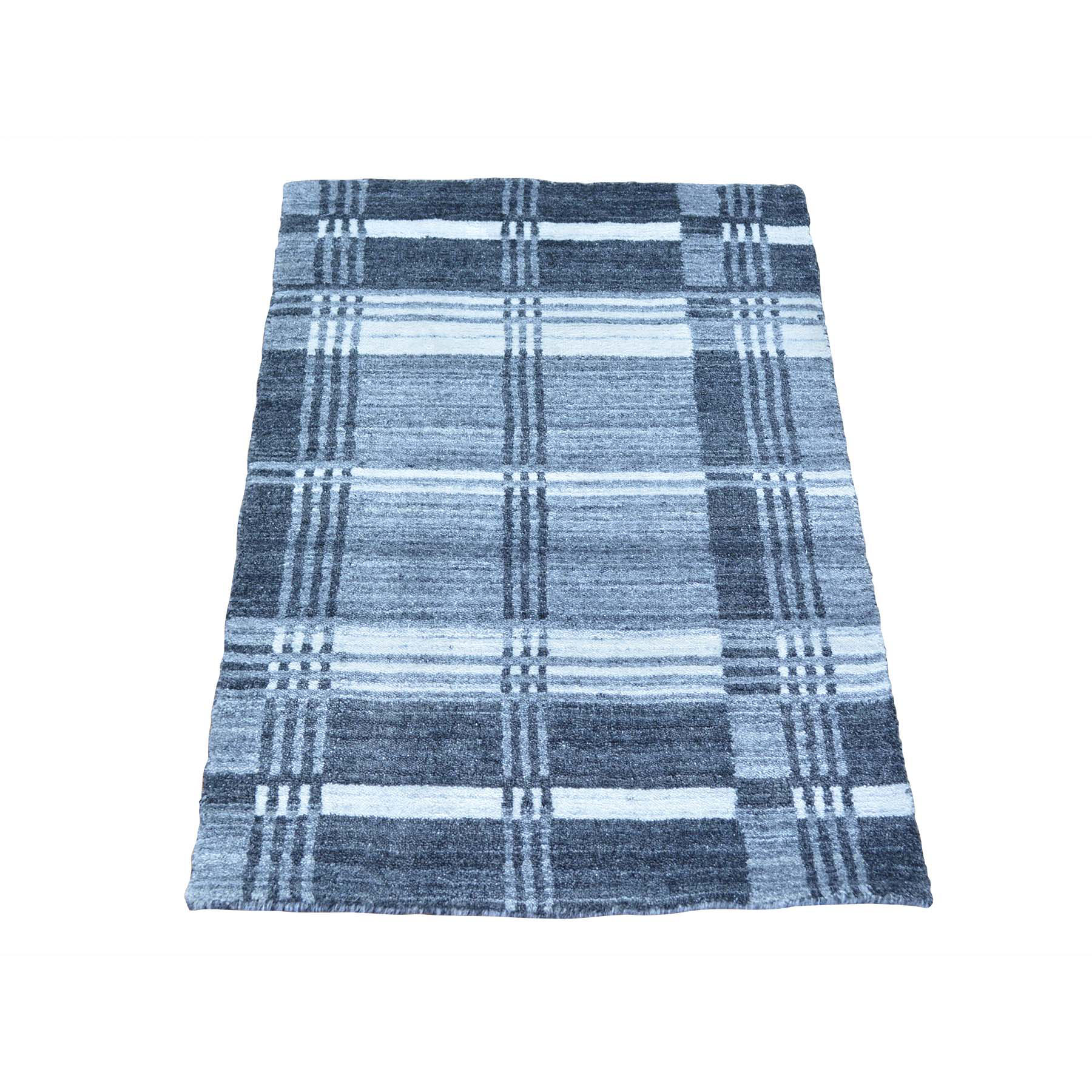 2' X 3' Geometric Design Handmade Modern 100 Percent Wool Oriental Rug moabcbce