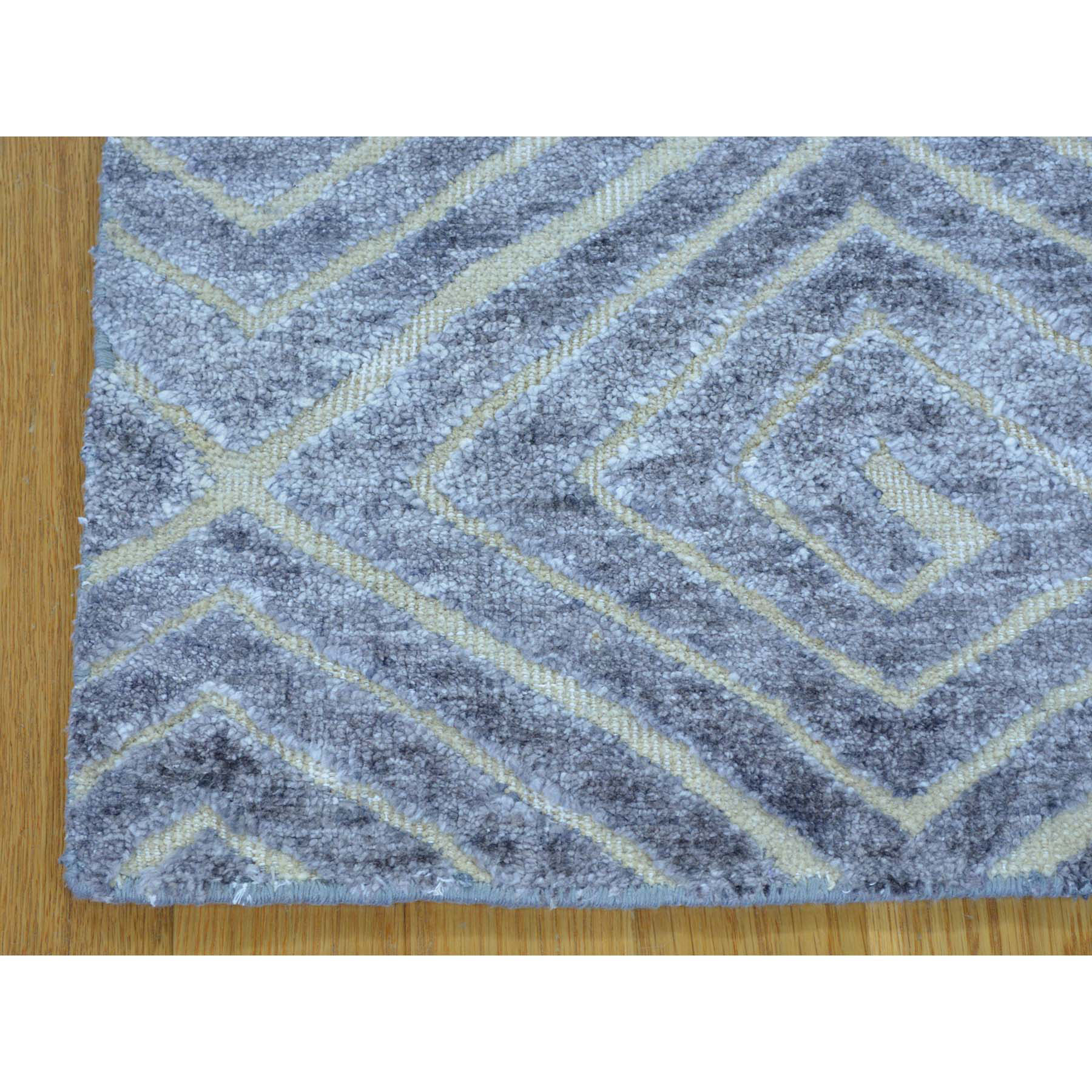 2- x 3- Wool and Silk High and Low Pile Modern Hand Knotted Rug