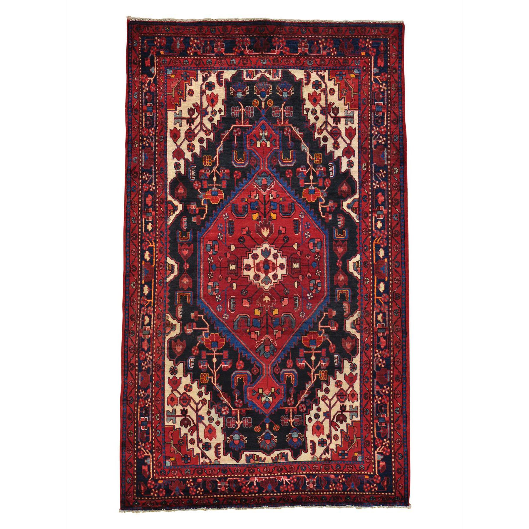 5.5- x 9- Pure Wool Persian Nahavand Handmade Full Pile Oriental Rug