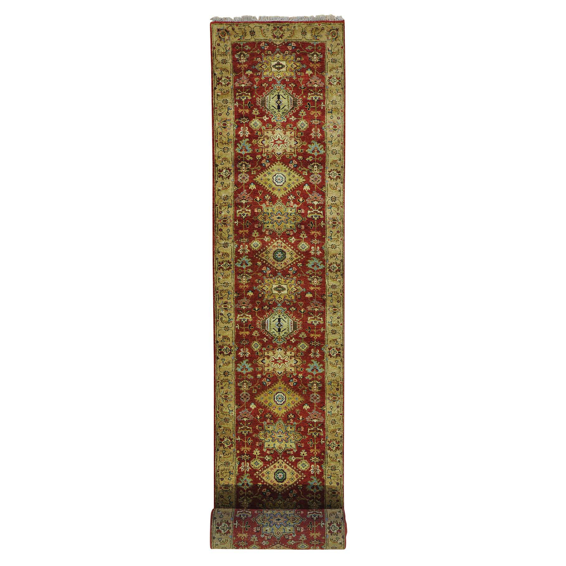 2-7 x19-10 - XL Runner Pure Wool Hand Knotted Rust Red Karajeh Oriental Rug
