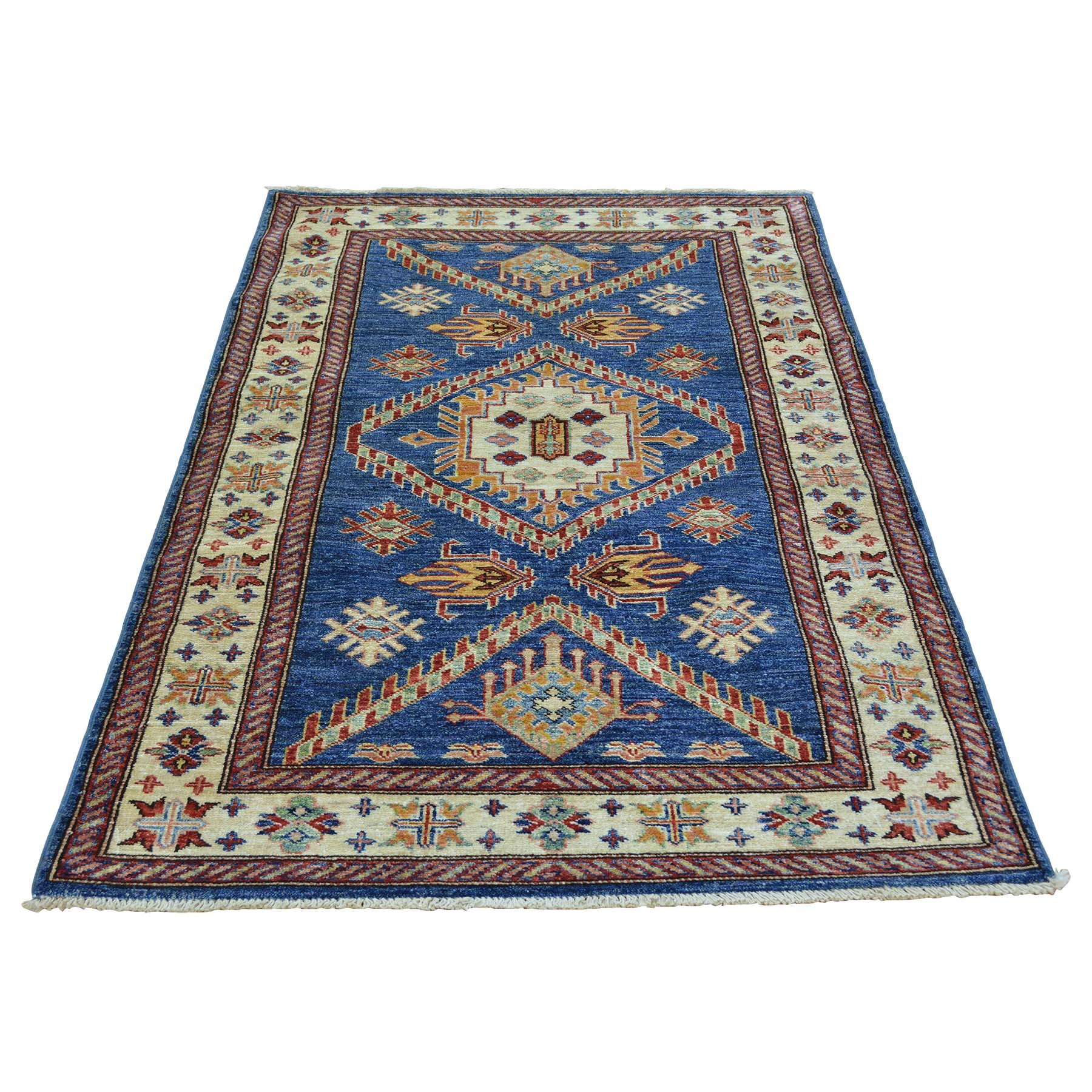 3' X 5' Denim Blue Super Kazak Hand Knotted 100 Percent Wool Oriental Rug moabd988