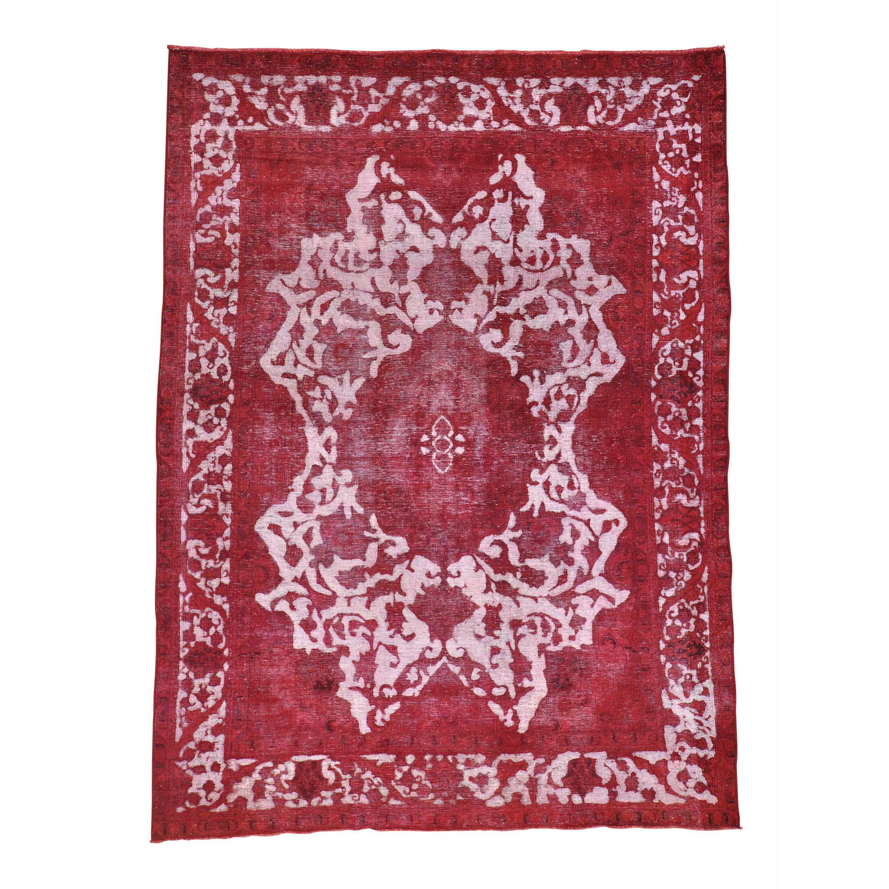 8'X11' Pure Wool Handmade Red Overdyed Persian Tabriz Barjasta Vintage Rug moabe0ca