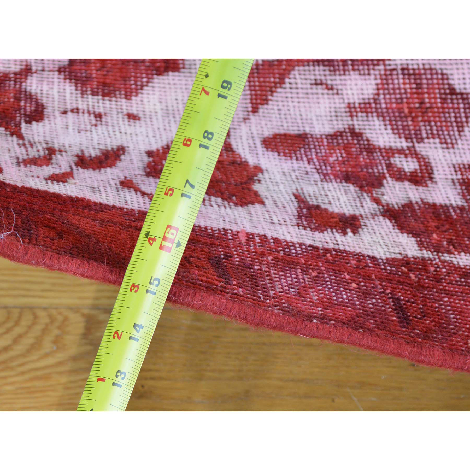 8-x11- Pure Wool Handmade Red Overdyed Persian Tabriz Barjasta Vintage Rug