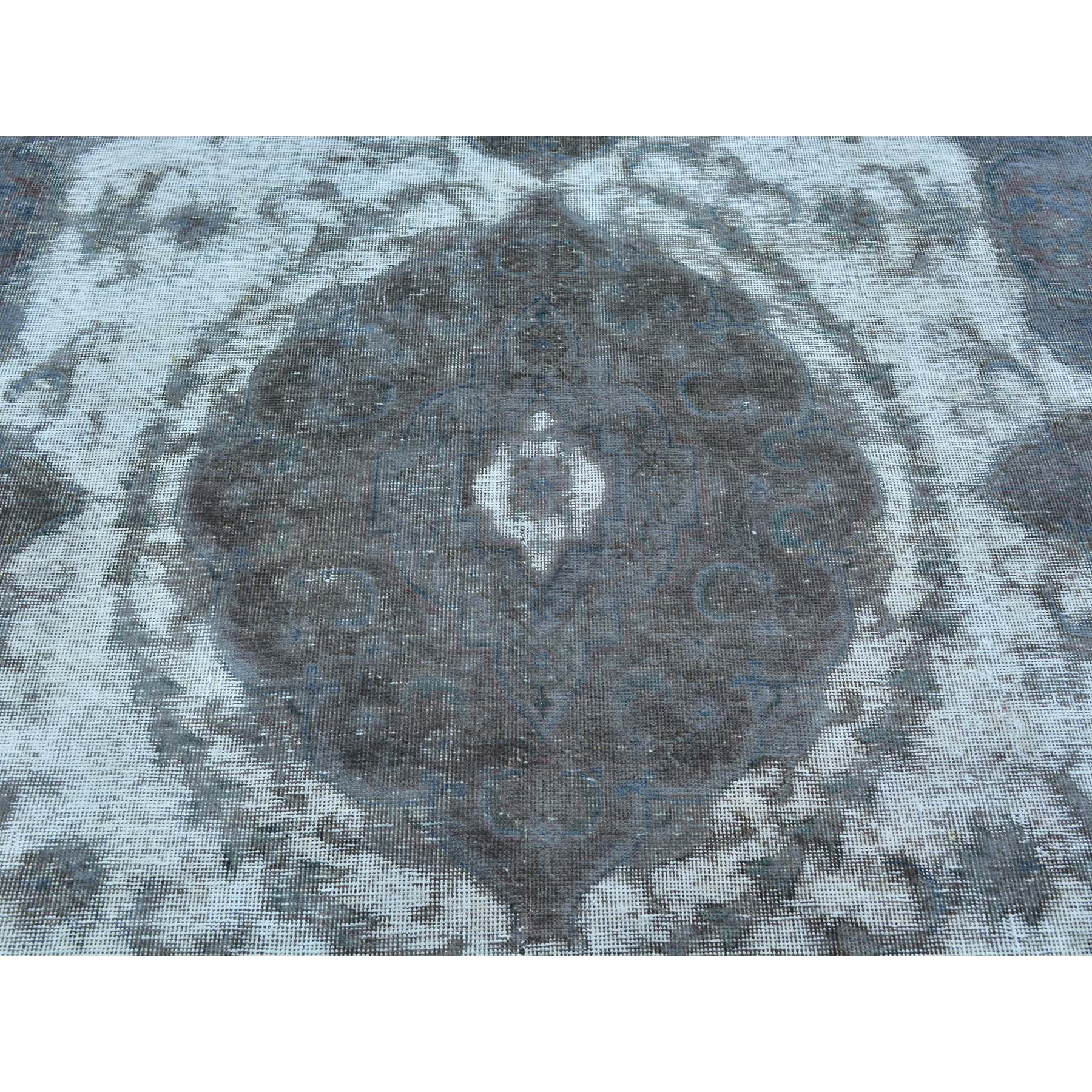 8-x11- Silver Overdyed Persian Tabriz Barjasta Pure Wool Vintage Rug