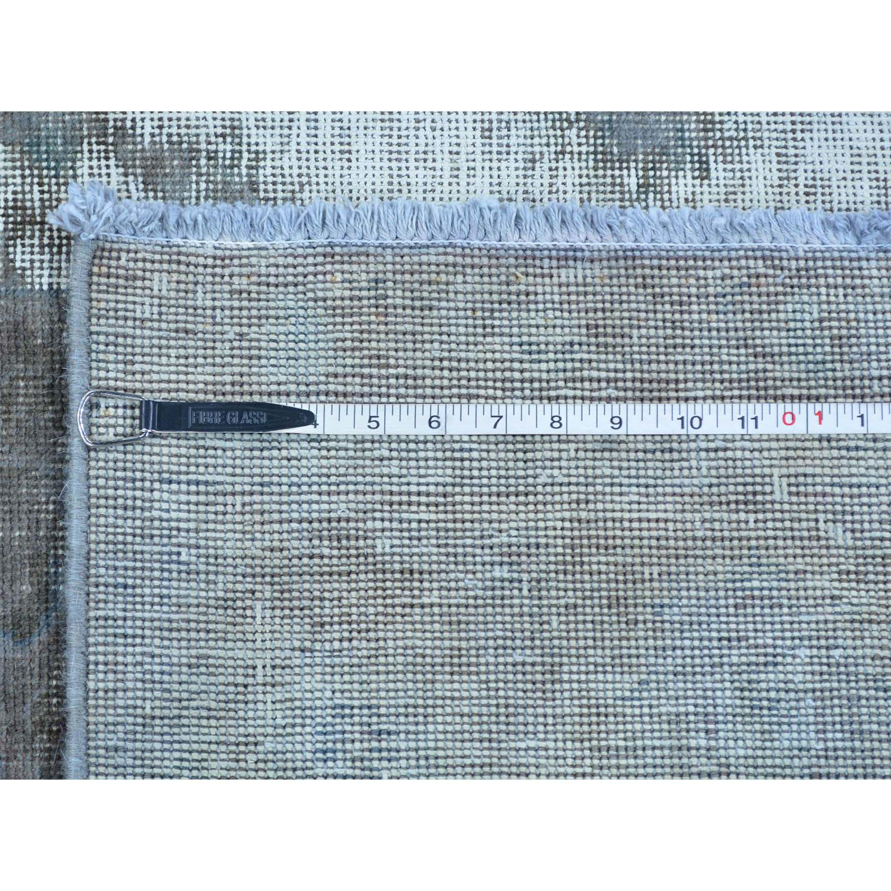 8-x11- Silver Overdyed Persian Tabriz Barjasta Pure Wool Vintage Rug