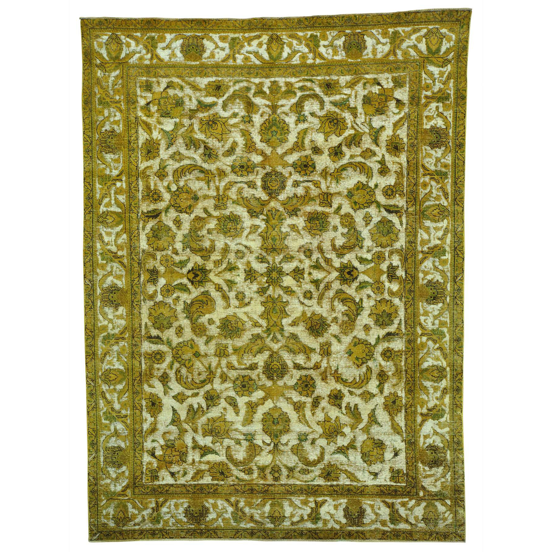 8'X11' Gold Overdyed Hand Knotted Persian Tabriz Barjasta Vintage Rug moabea7e