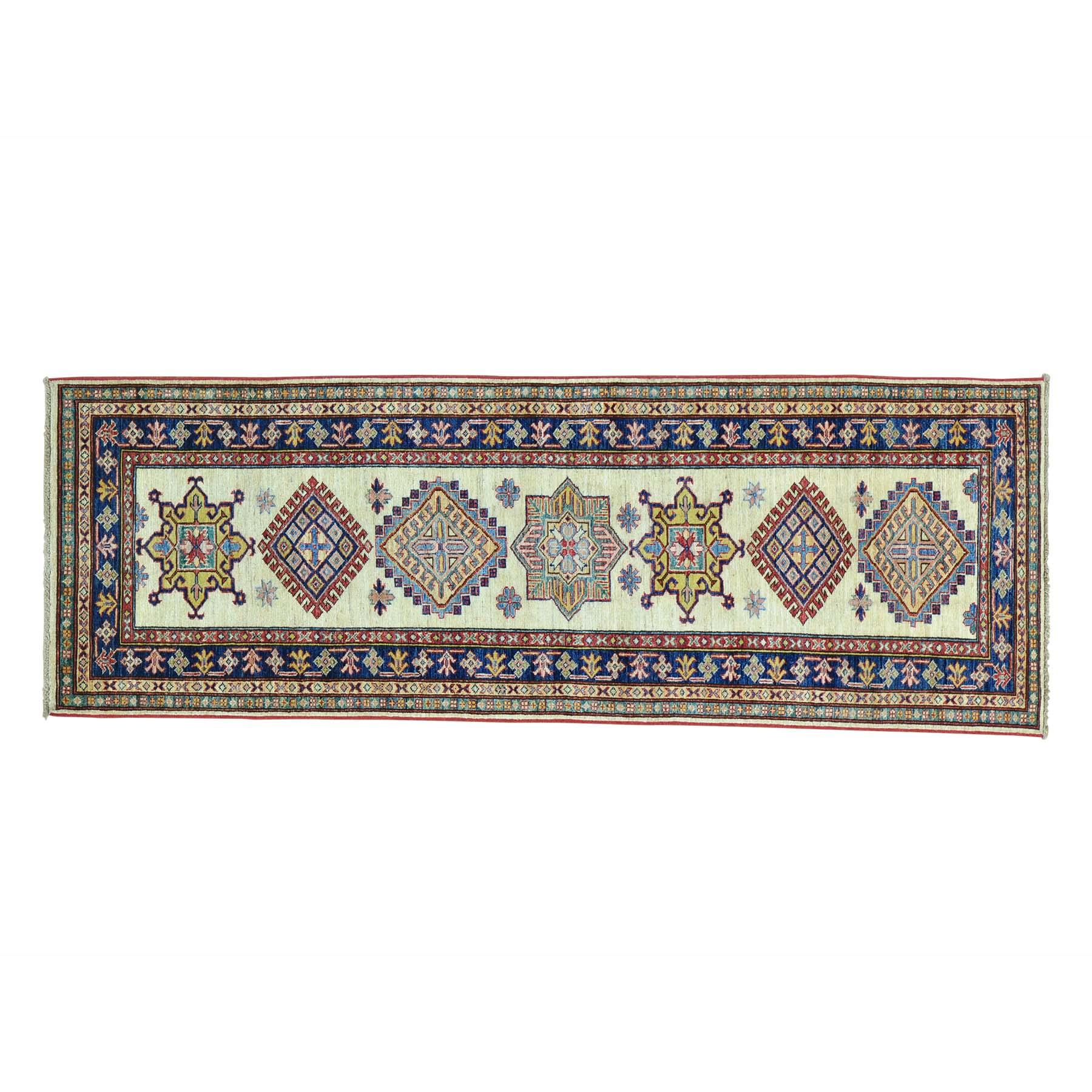 "2'9""x7'10"" Geometric Design Hand Knotted Runner Super Kazak Oriental Rug"