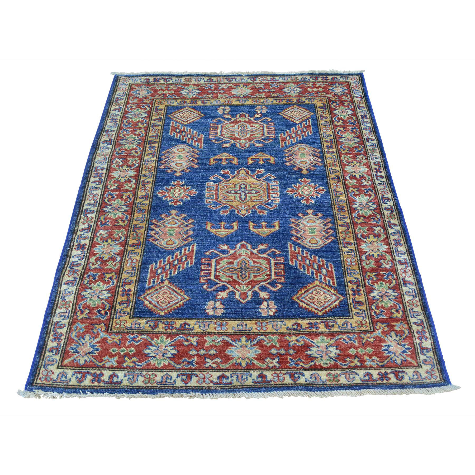 3-x4- Denim Blue Tribal Design Hand Knotted Pure Wool Super Kazak Rug