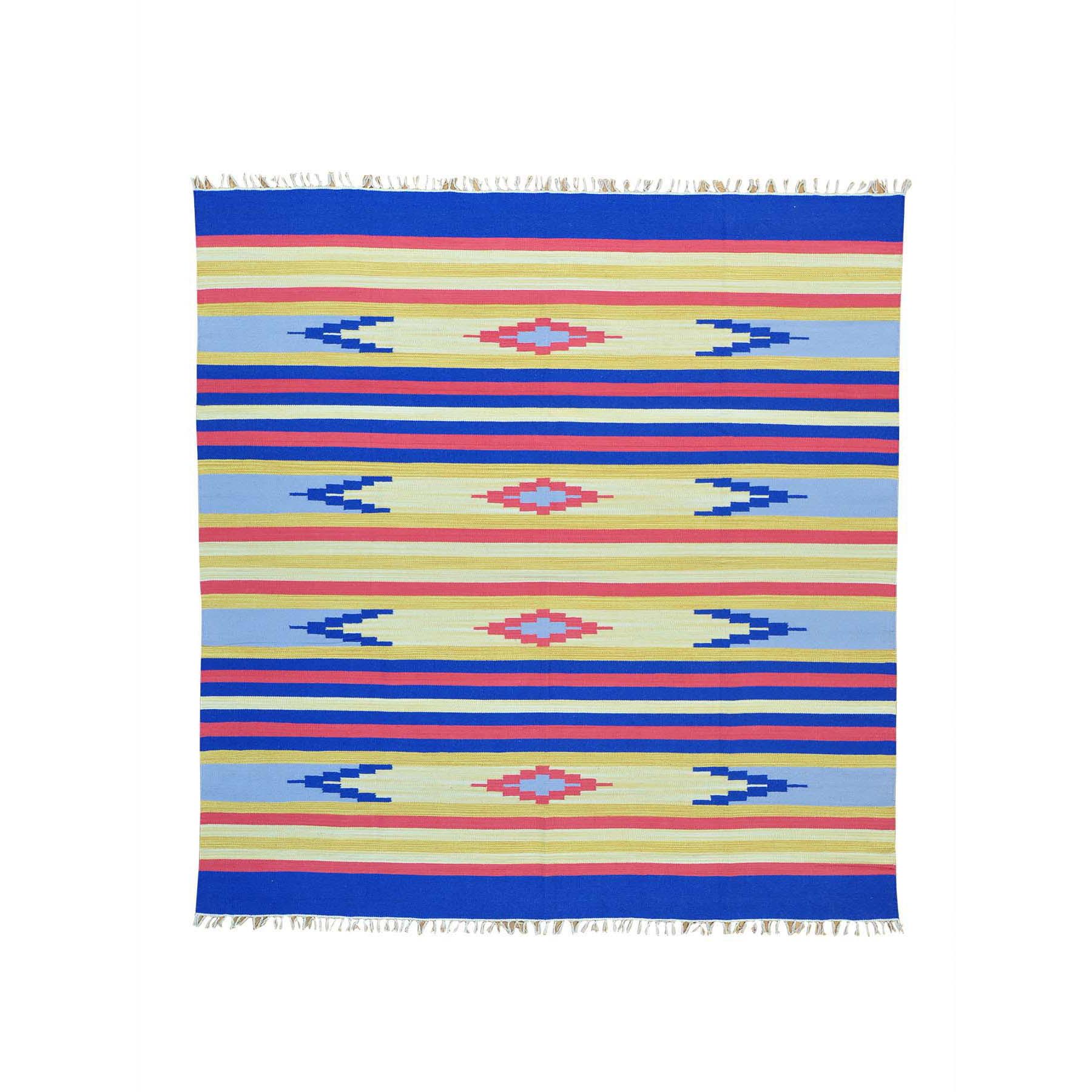 8'X8' Flat Weave Hand Woven Navajo Design Square Killim Rug moab60ed