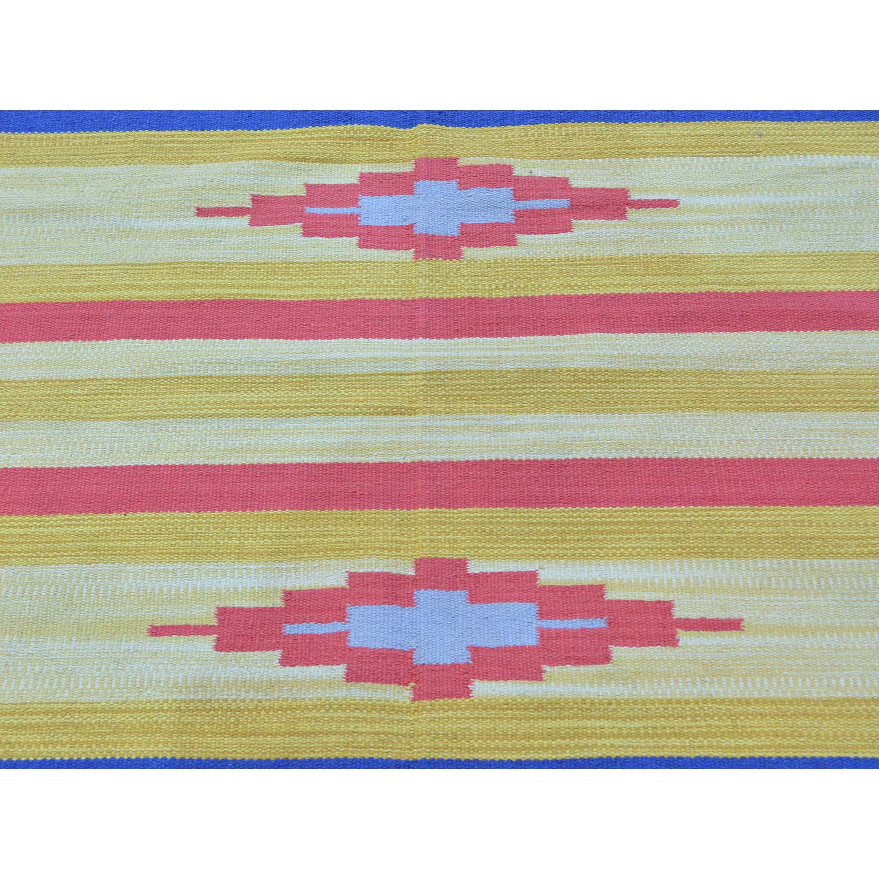 8-x8-4  Flat Weave Hand Woven Navajo Design Square Killim Rug