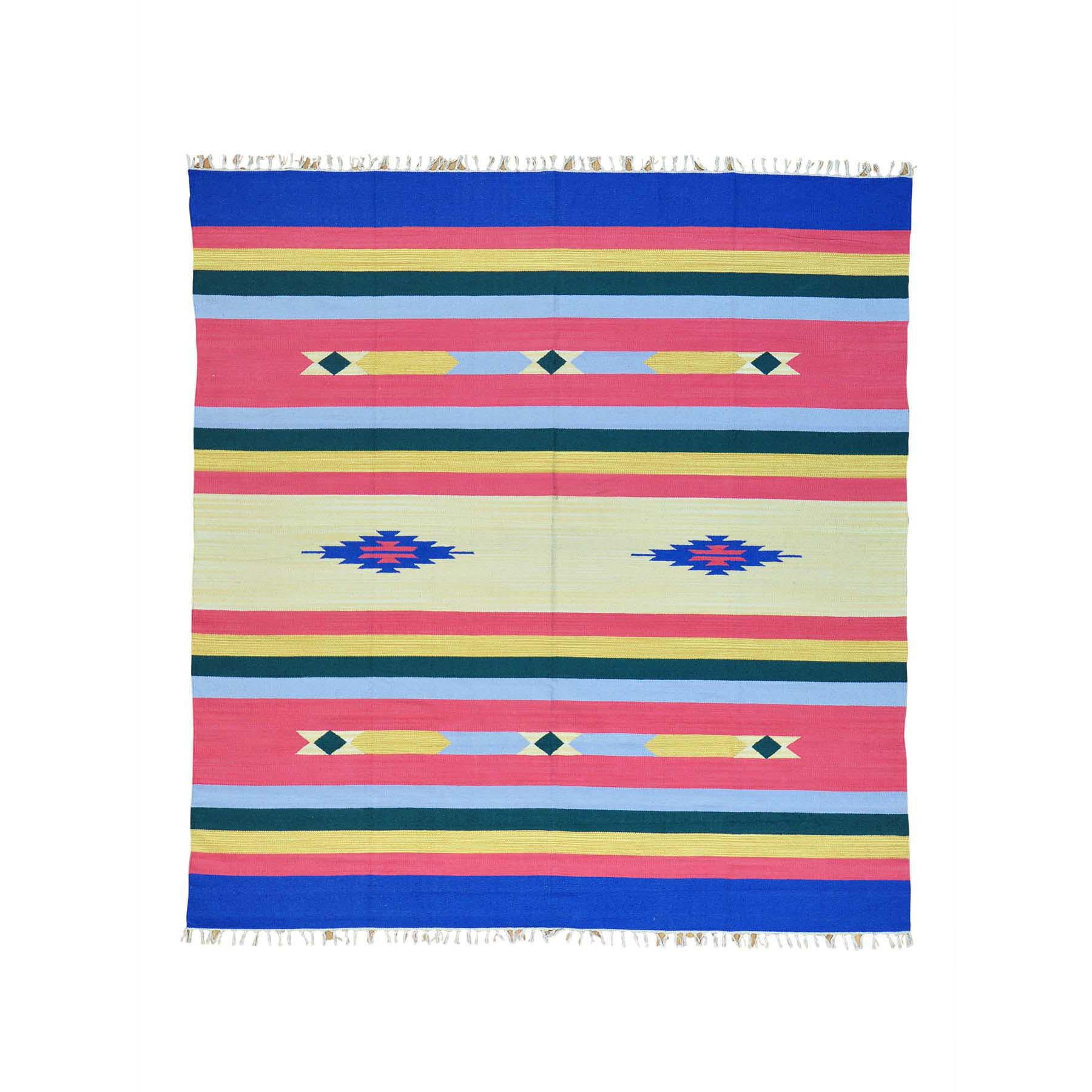 "7'10""X8'3"" Hand Woven Killim Flat Weave Squarish Southwestern Design Rug moab60e9"